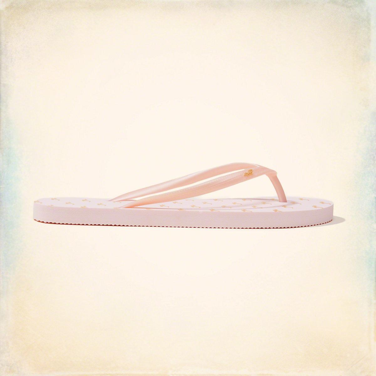 d1acaec41689 Lyst - Hollister Rubber Icon Flip Flop in Pink