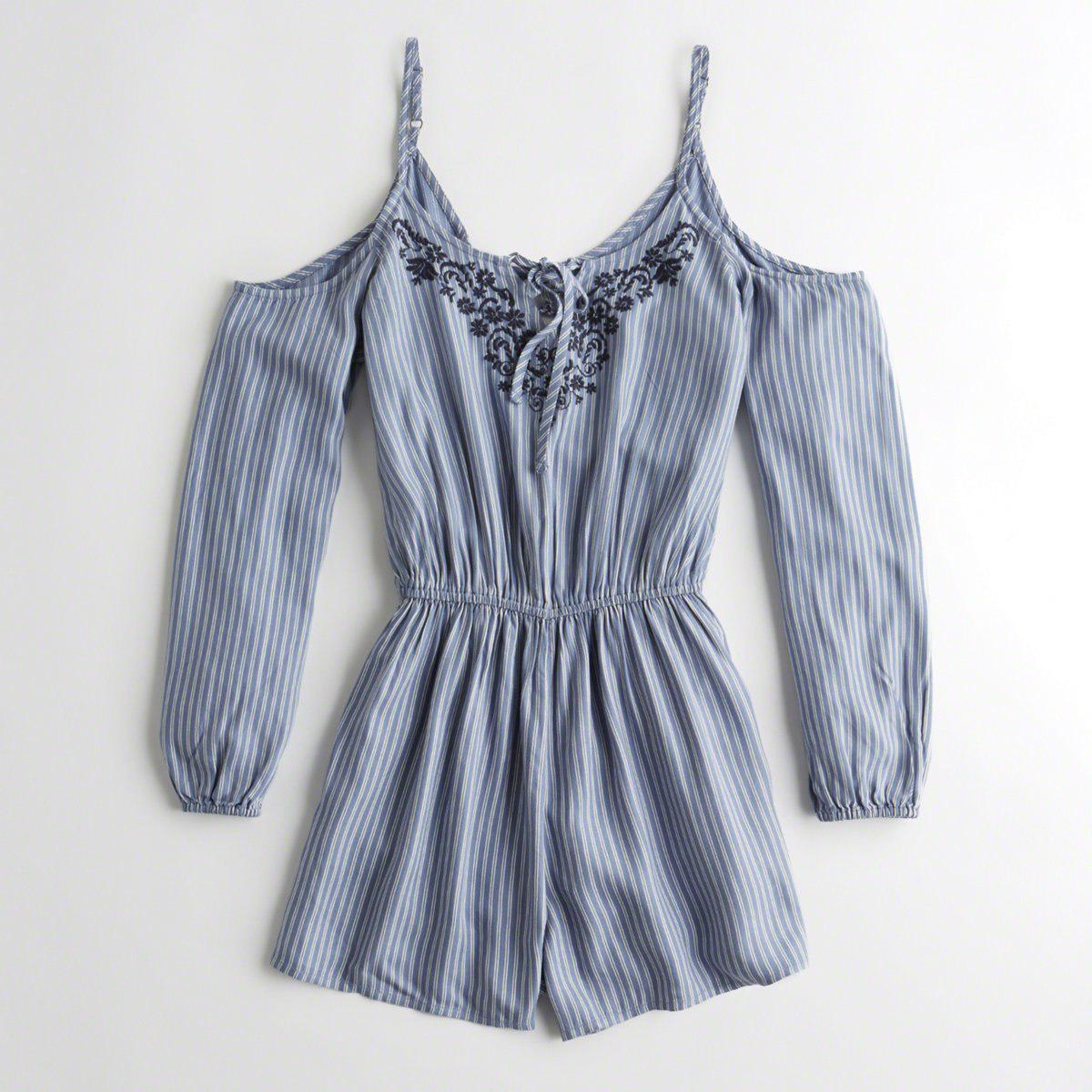 d6afdd5b7118 Hollister. Women s Blue Girls Embroidered Cold Shoulder Romper From  Hollister