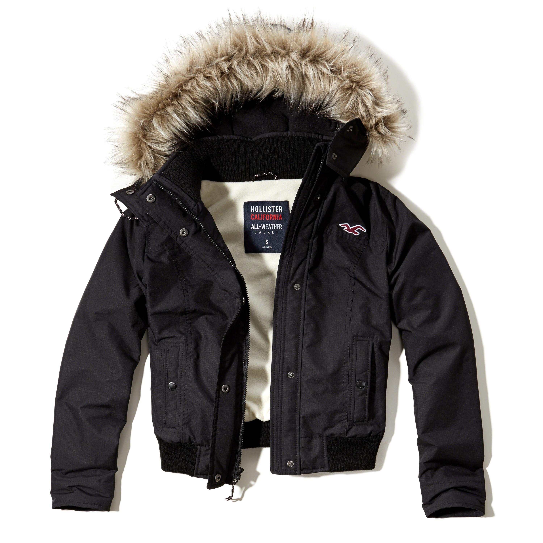 hollister allweather bomber jacket in black lyst