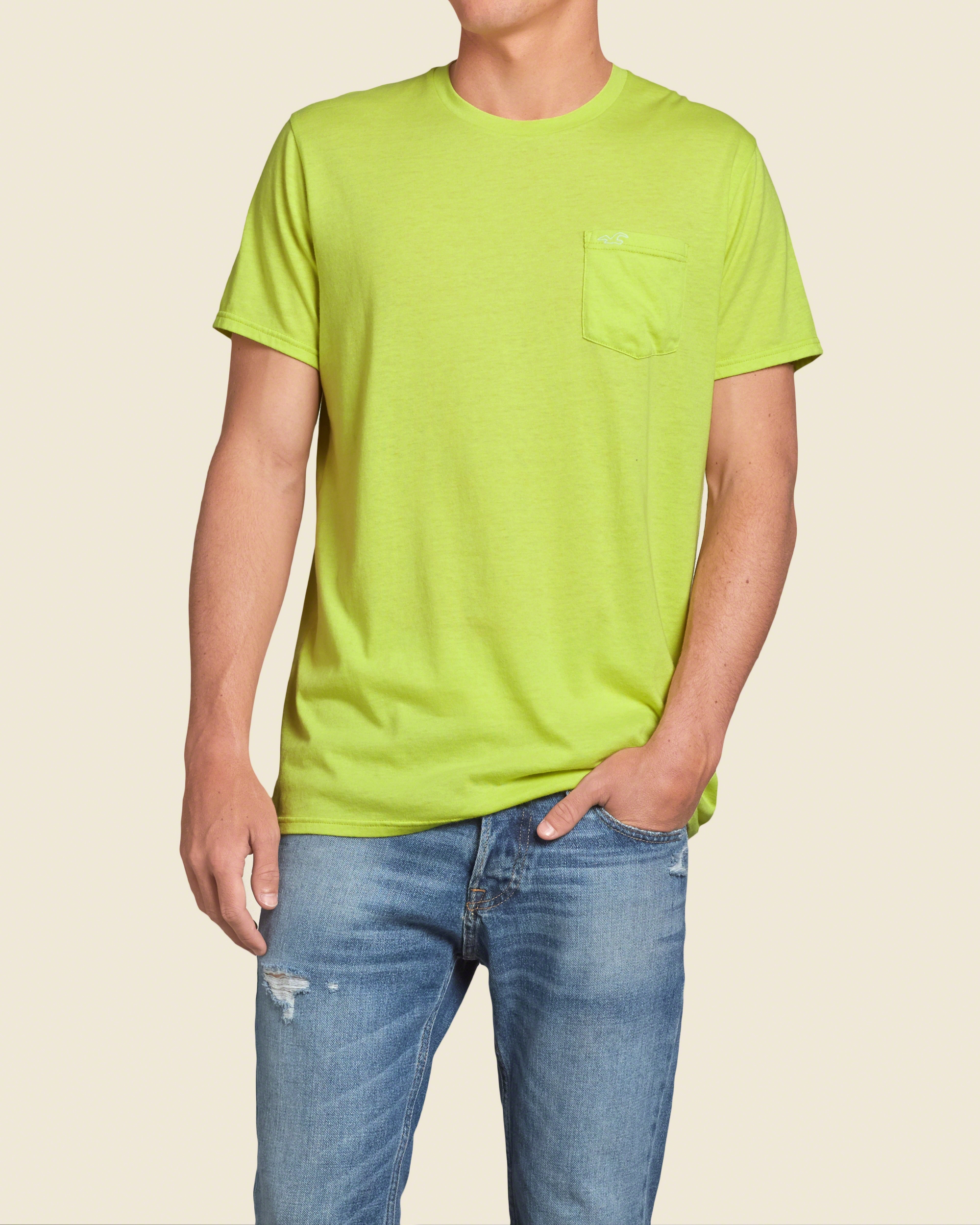 Hollister must have pocket t shirt in green for men lyst for Must have dress shirts
