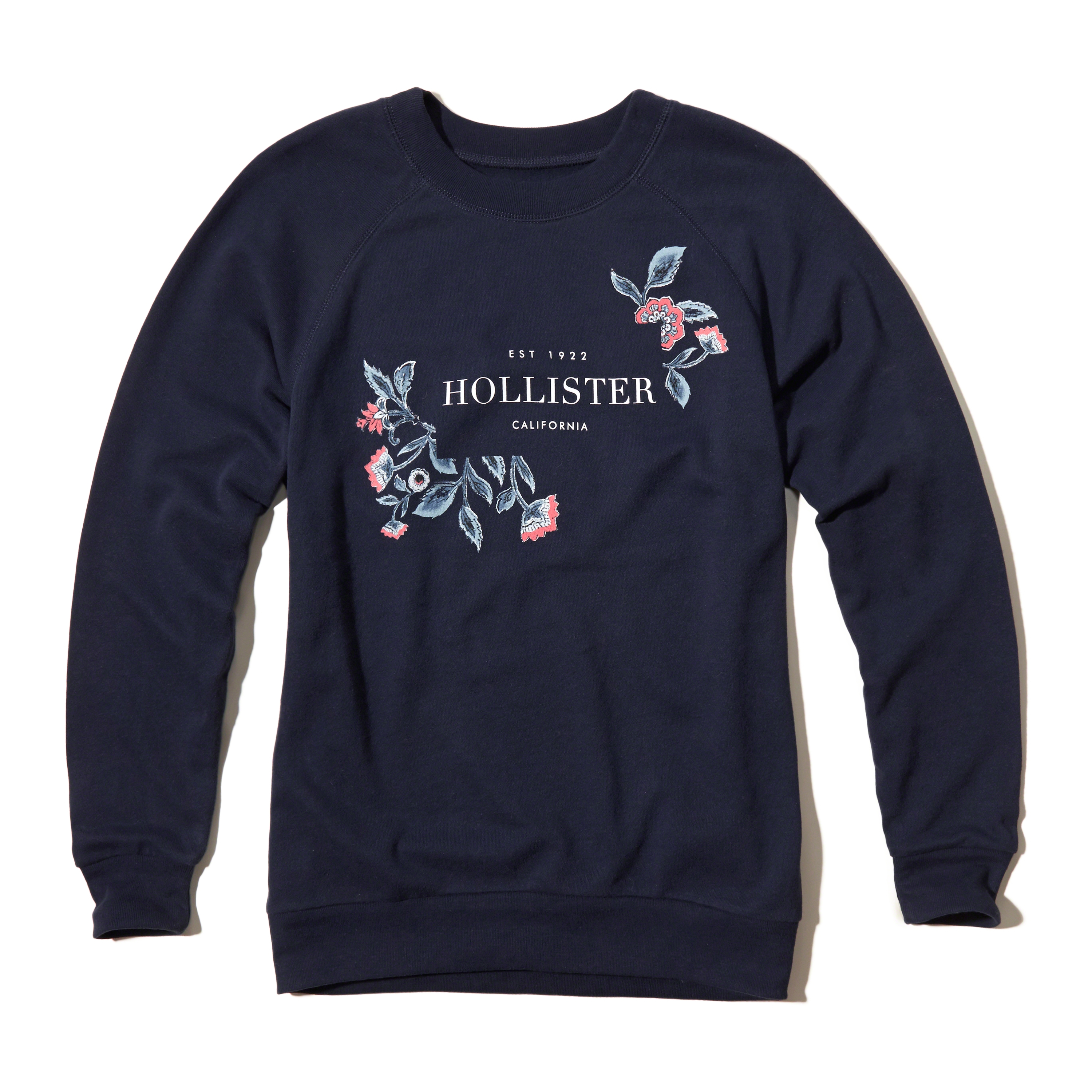 Hollister Logo Graphic Boyfriend Sweatshirt In Blue