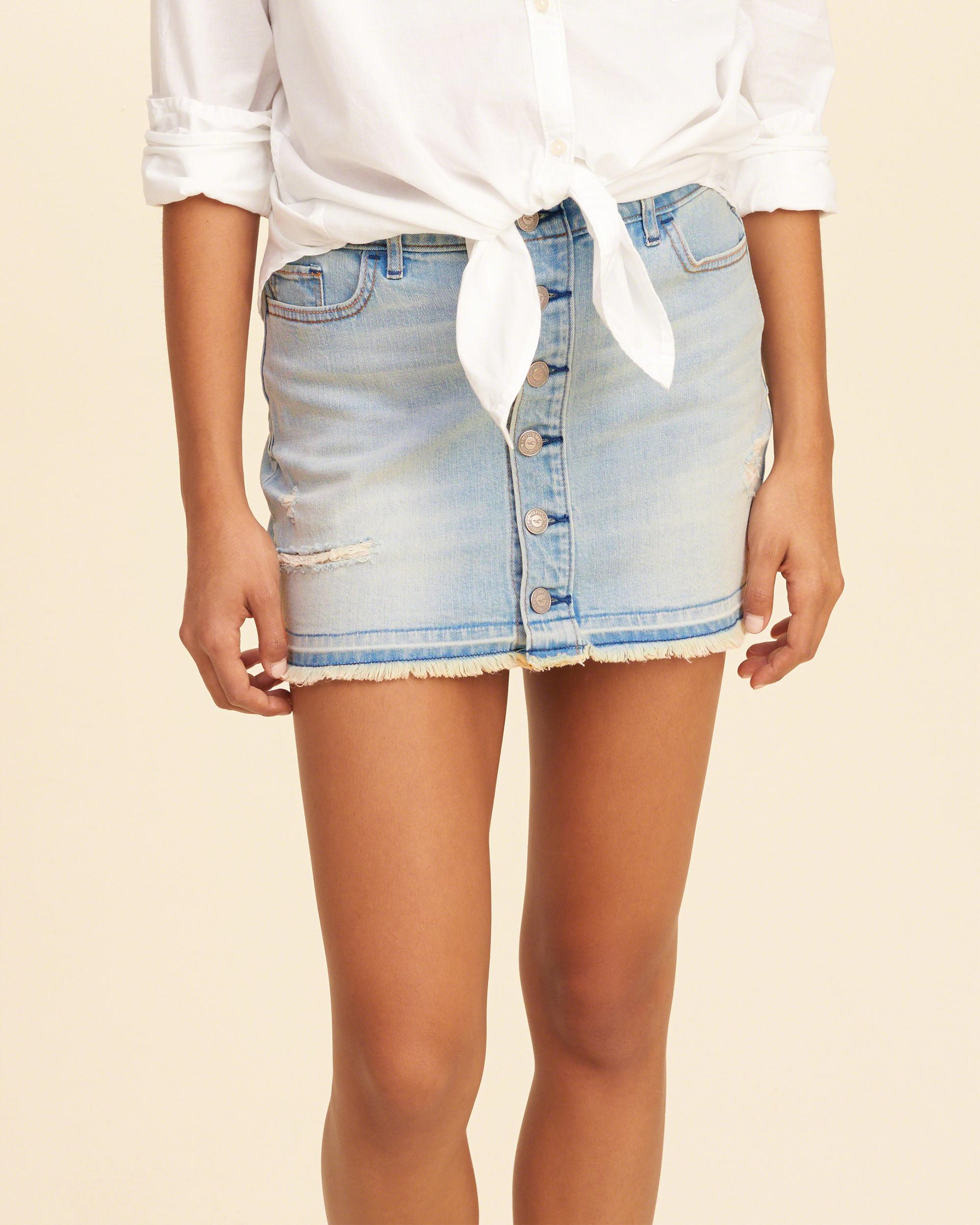 Hollister Button-front Low-rise Denim Mini Skirt in Blue ...