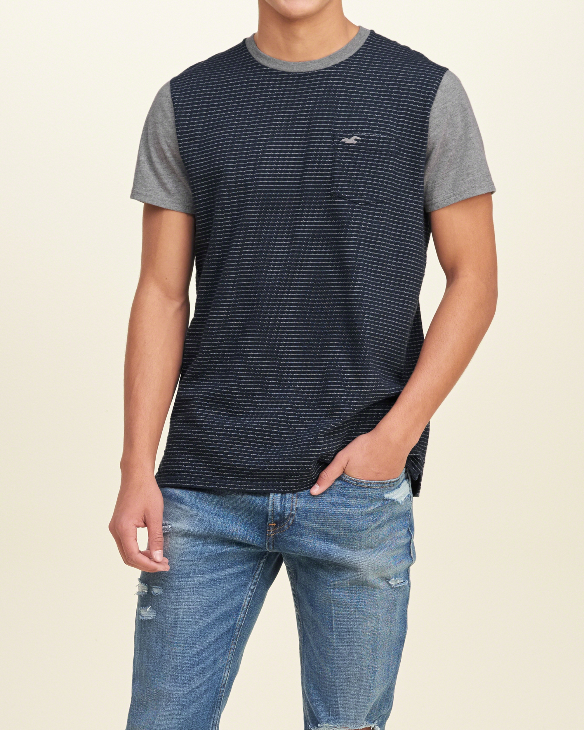 Hollister must have crew t shirt in blue for men navy lyst for Must have dress shirts