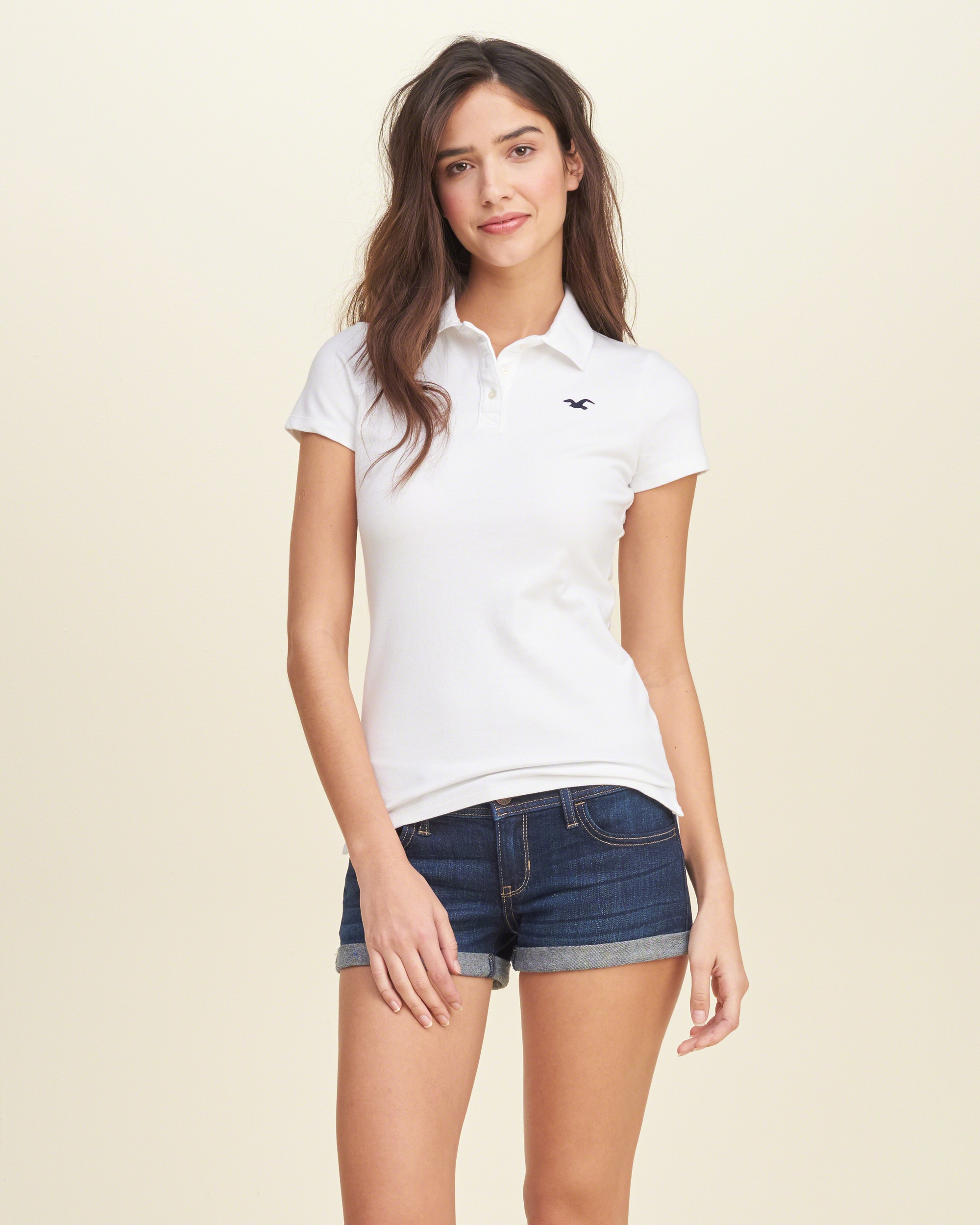 Lyst - Hollister Slim Stretch Icon Polo in White
