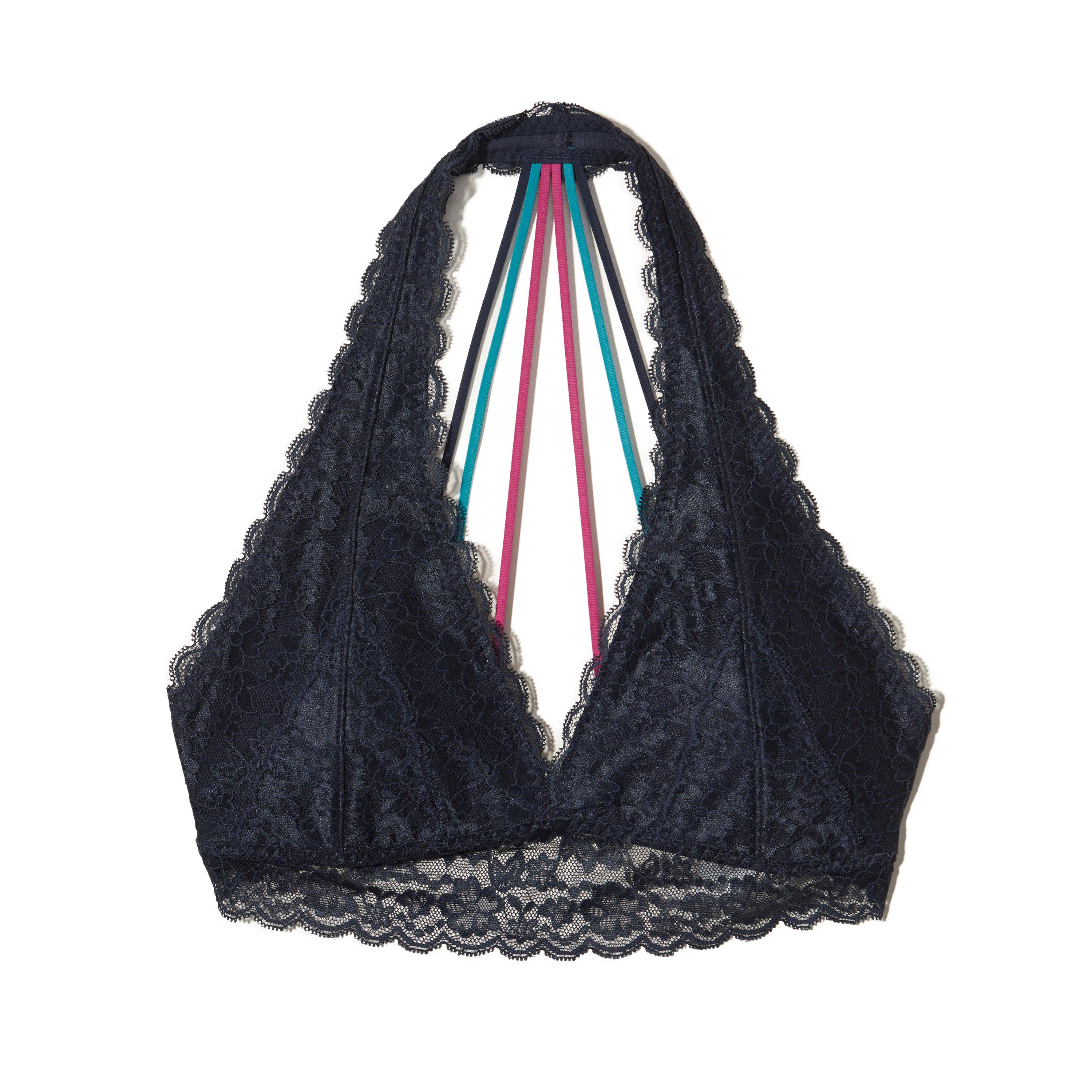 0711d8123b4 Lyst - Hollister Strappy Halter Bralette With Removable Pads in Blue