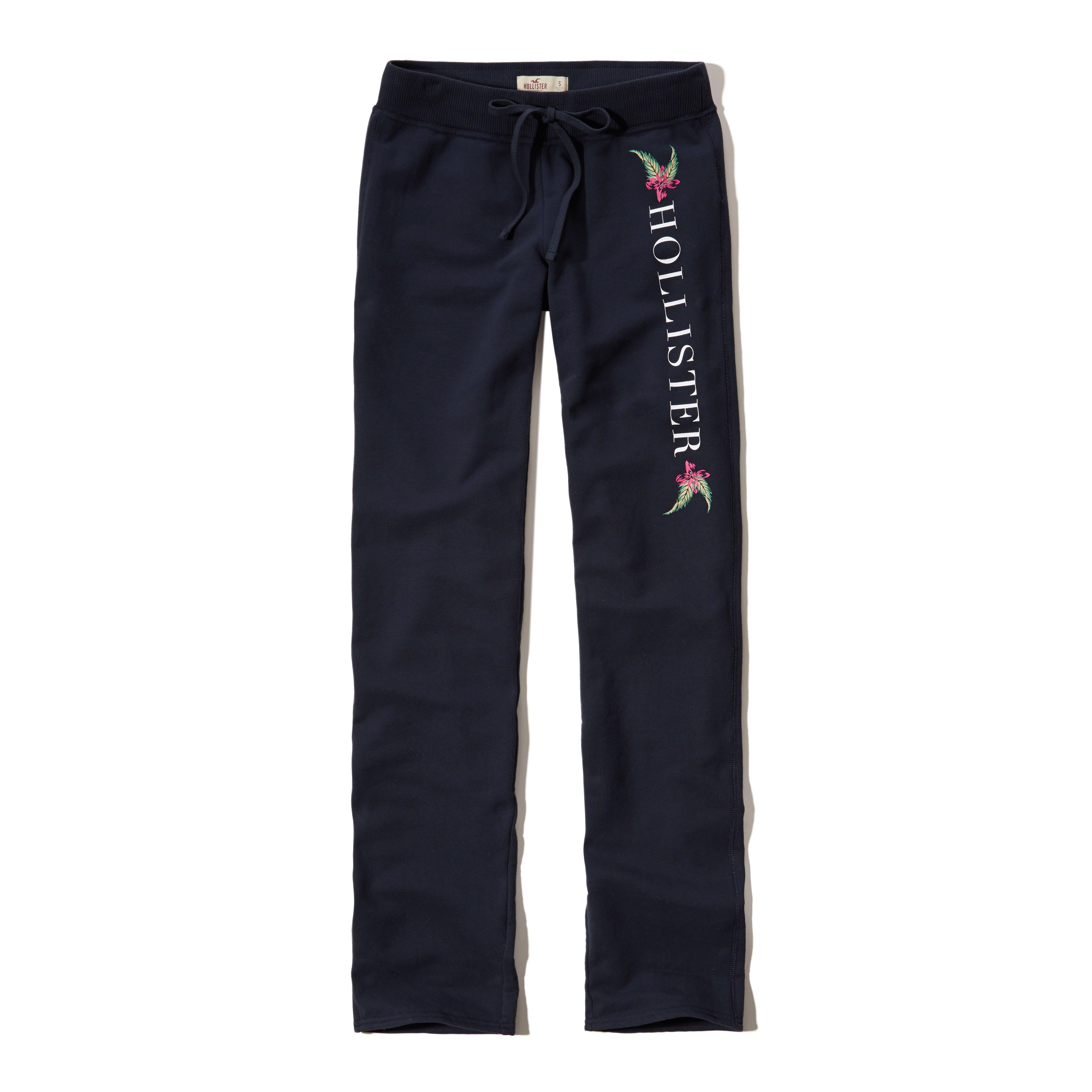 hollister logo graphic sweatpants in blue lyst