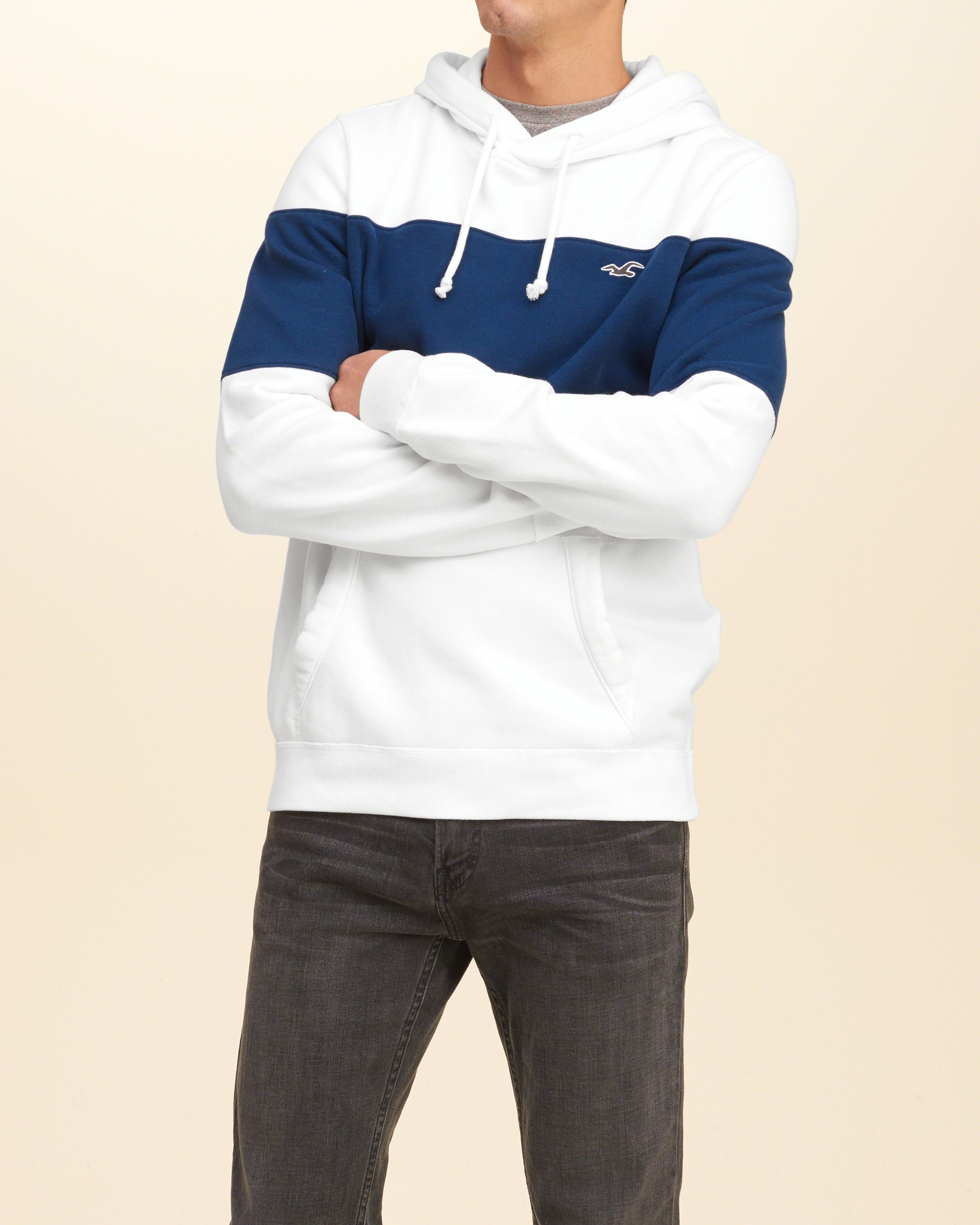 Hollister Sweaters Hollister Hoodies Hollister Shirts Hollister Jacket Hollister Pants Hollister Jeans: Hollister Iconic Colorblock Hoodie In Blue For Men