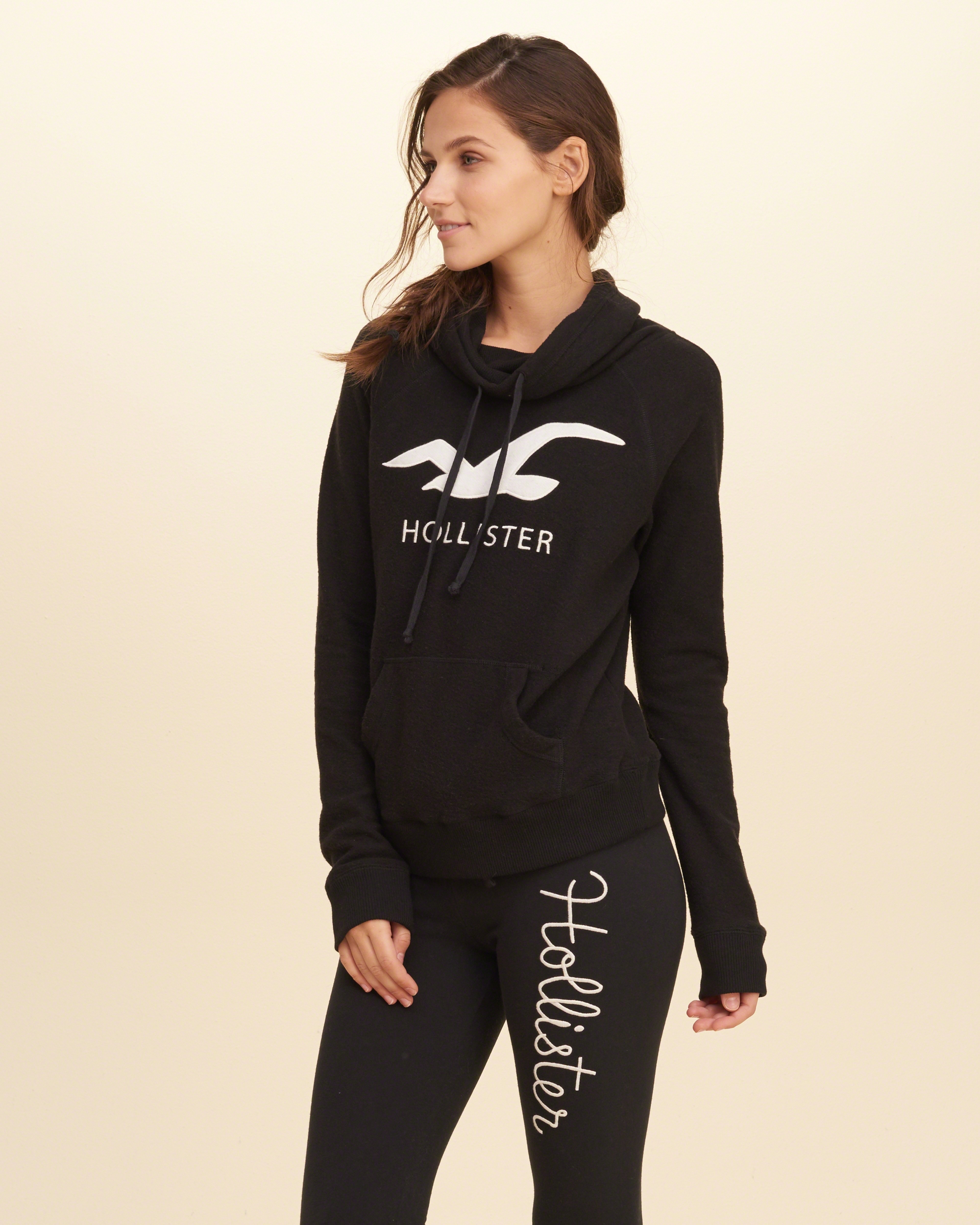 Lyst - Hollister Cowl Neck Logo Graphic Sweatshirt in Black
