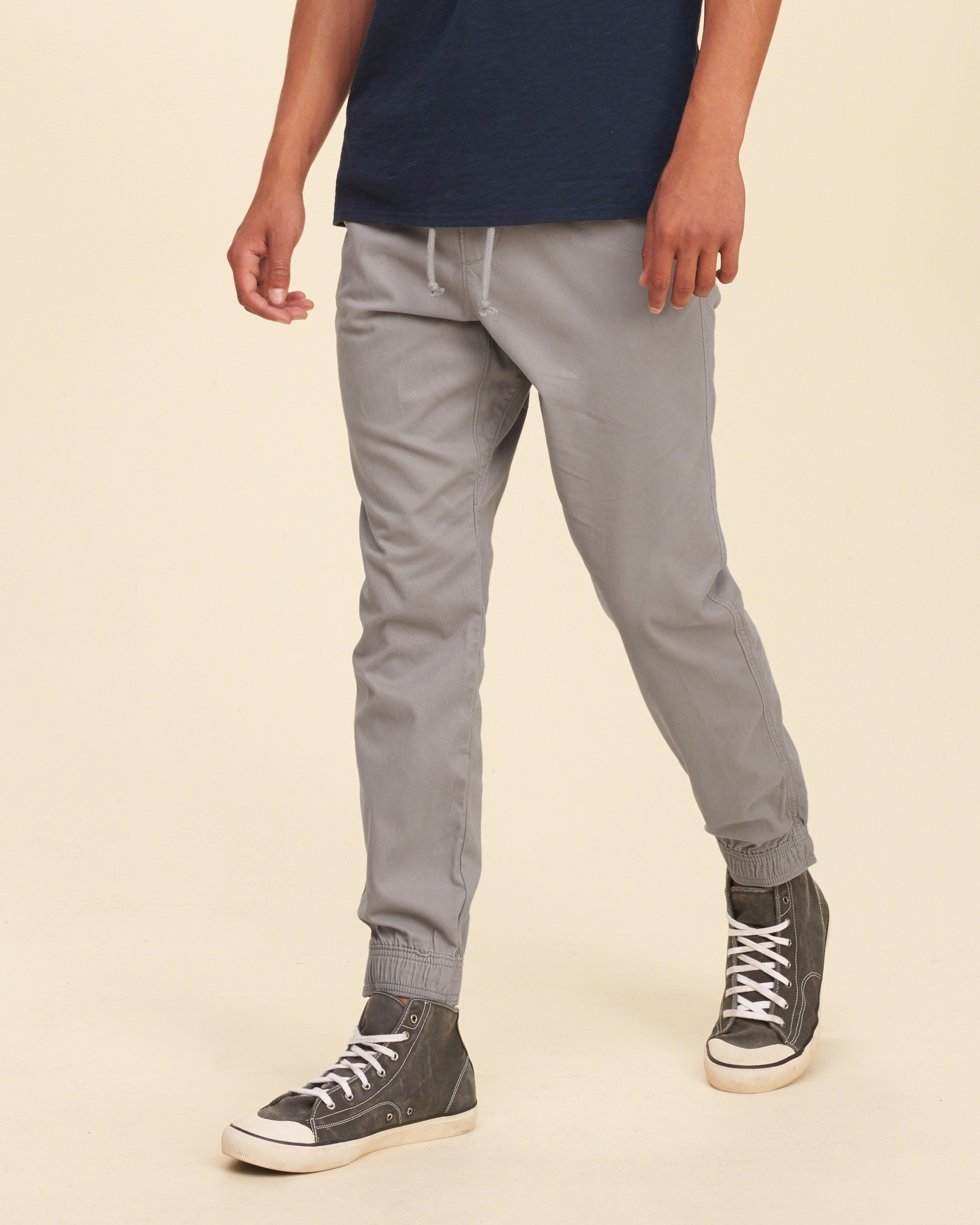 Hollister Pull-on Twill Jogger Pants in Gray for Men | Lyst