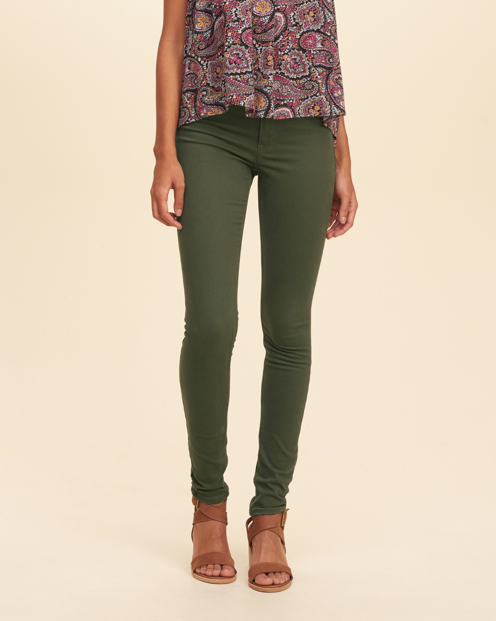 hollister low rise super skinny twill pants in green lyst. Black Bedroom Furniture Sets. Home Design Ideas