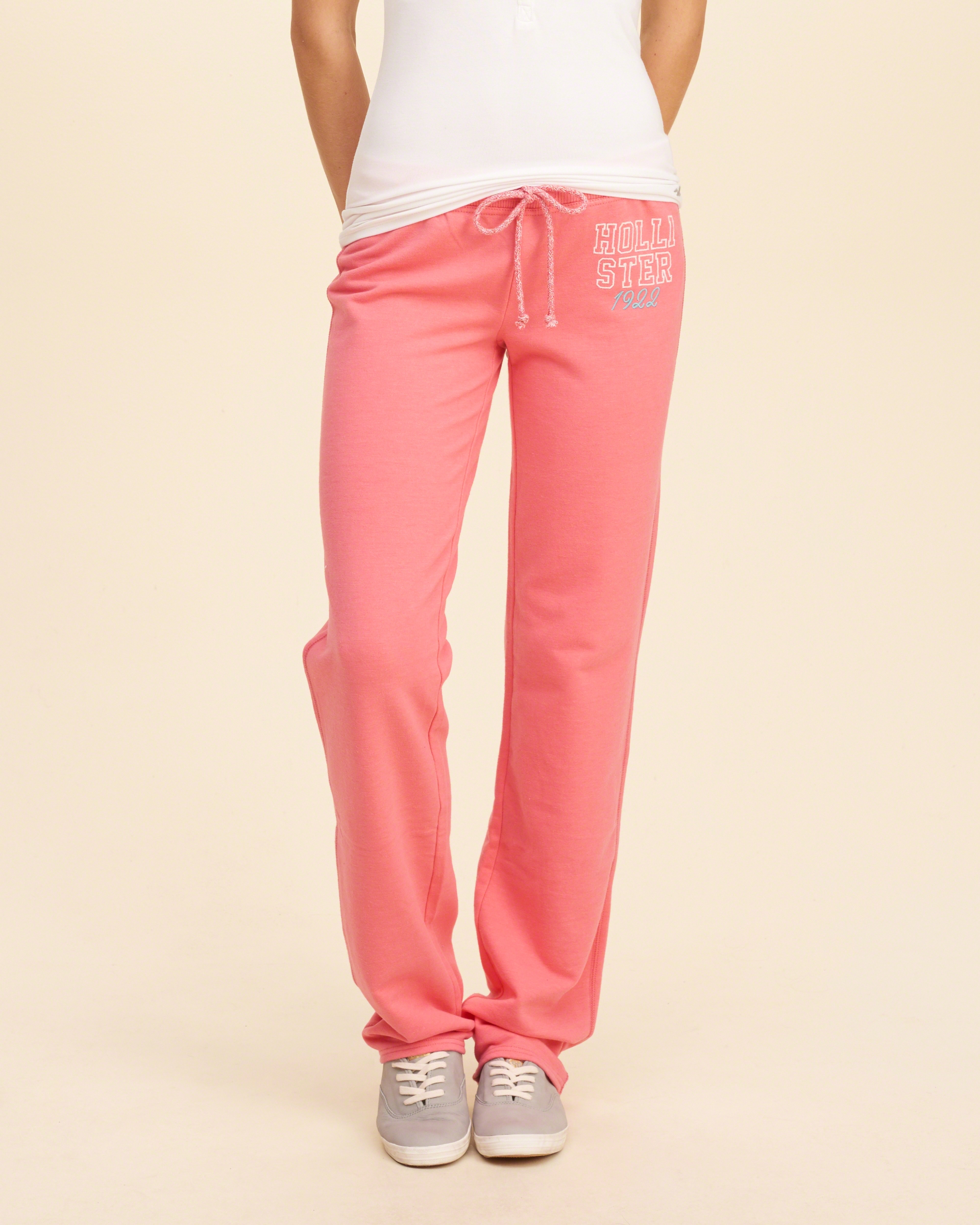 hollister skinny logo graphic sweatpants in pink lyst