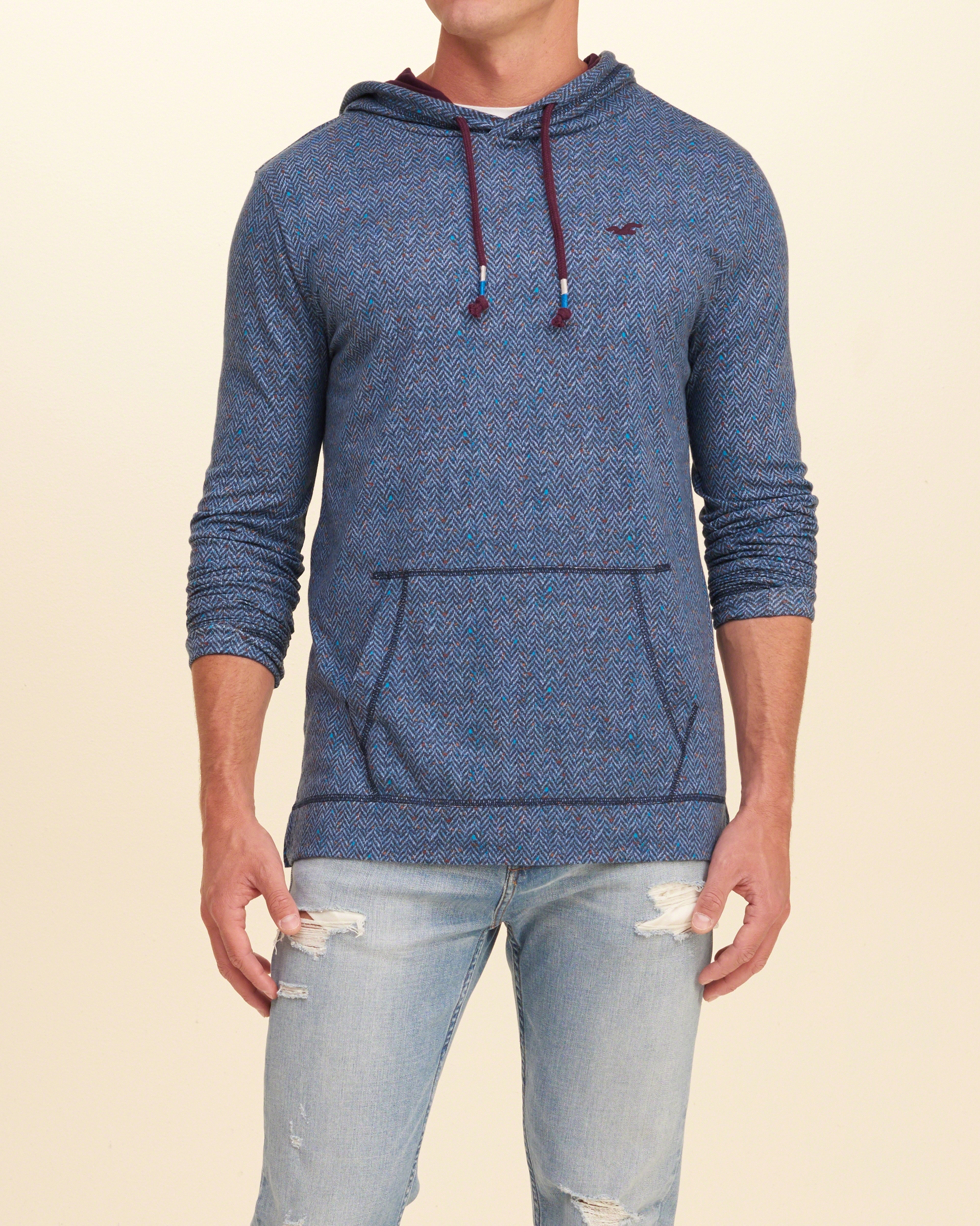 Hollister Sweaters Hollister Hoodies Hollister Shirts Hollister Jacket Hollister Pants Hollister Jeans: Hollister Overhead Hoodie With Logo In Blue For Men