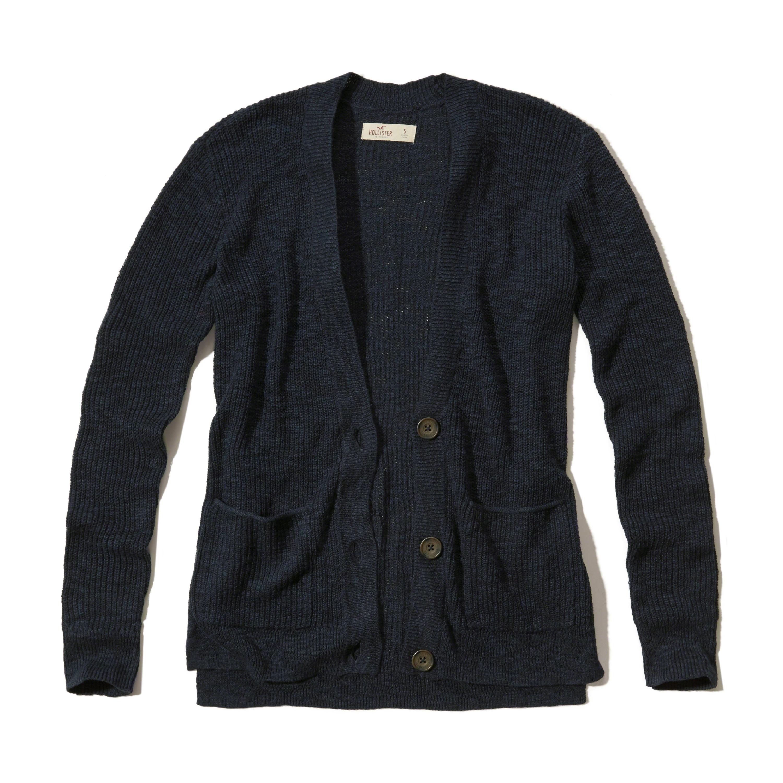 Hollister Textured Boyfriend Cardigan in Blue | Lyst