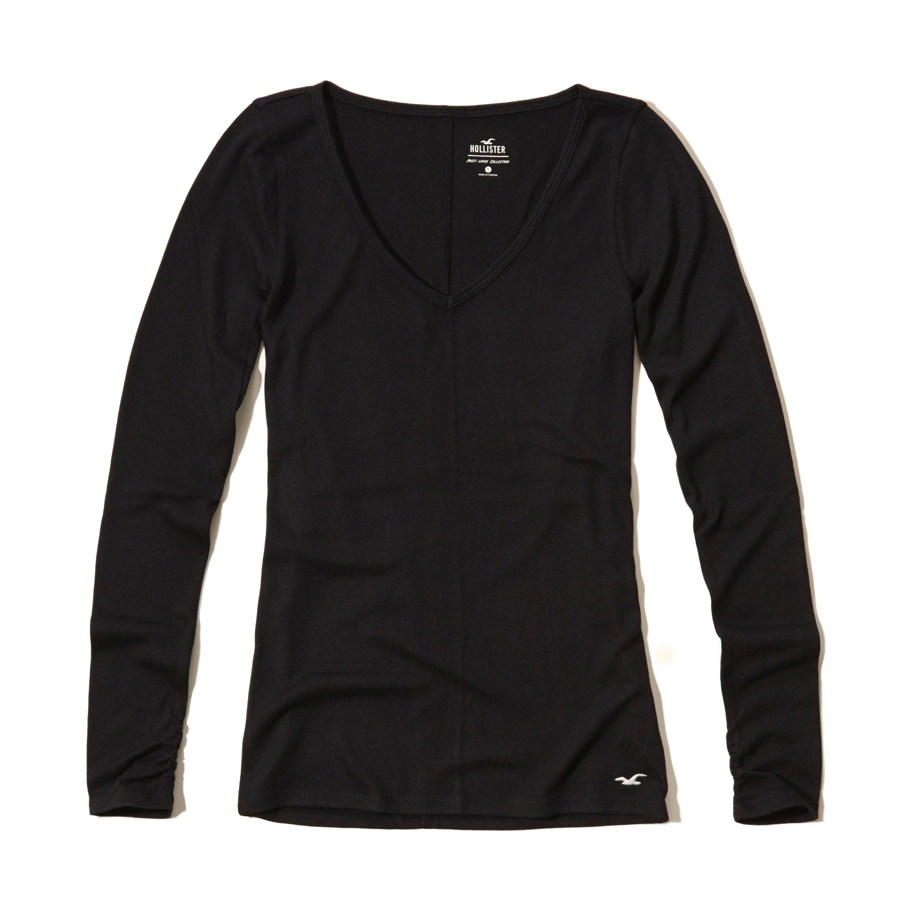 Lyst hollister must have long sleeve v neck t shirt in black for Must have dress shirts
