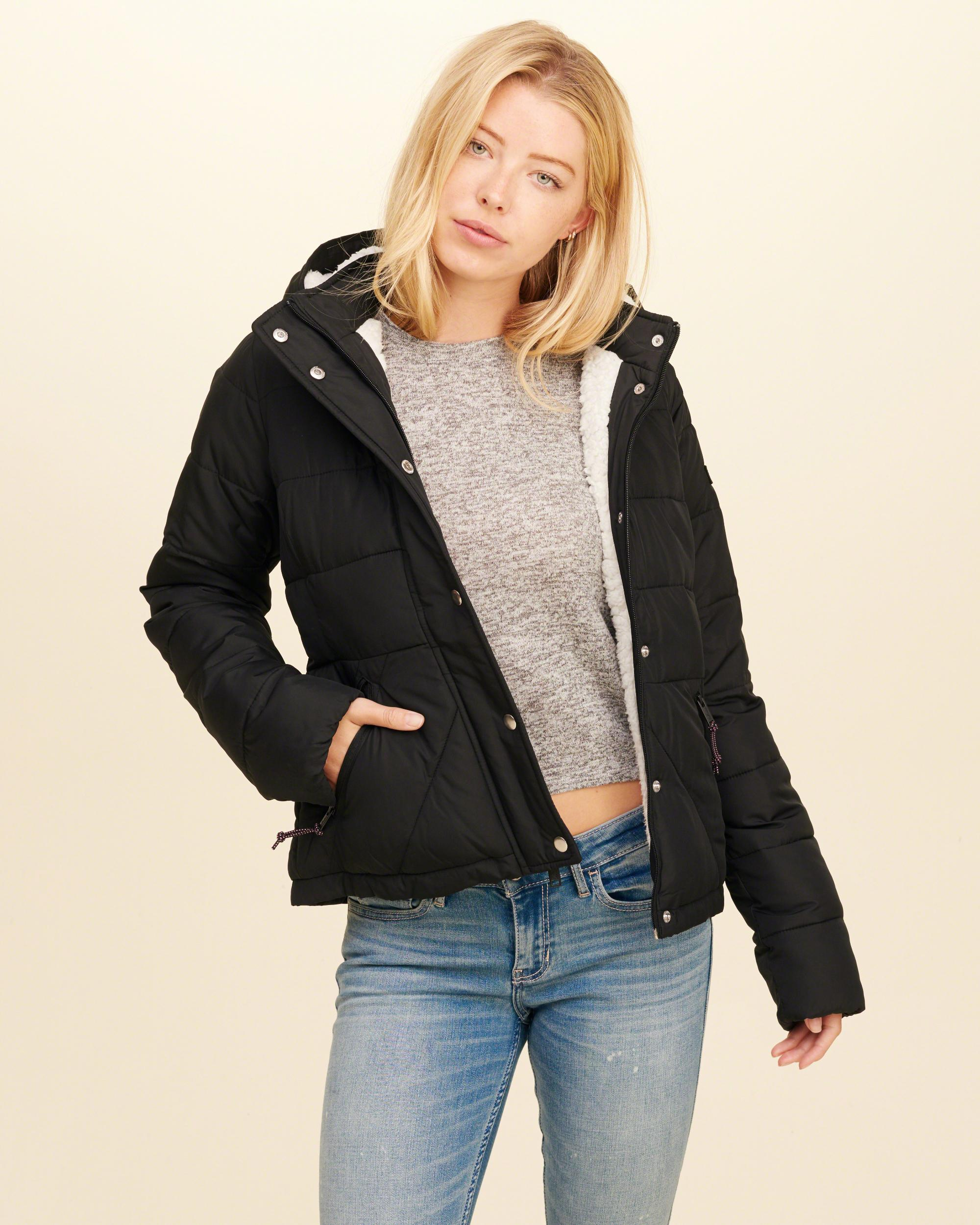 Hollister Synthetic Sherpa-lined Puffer Jacket in Black - Lyst