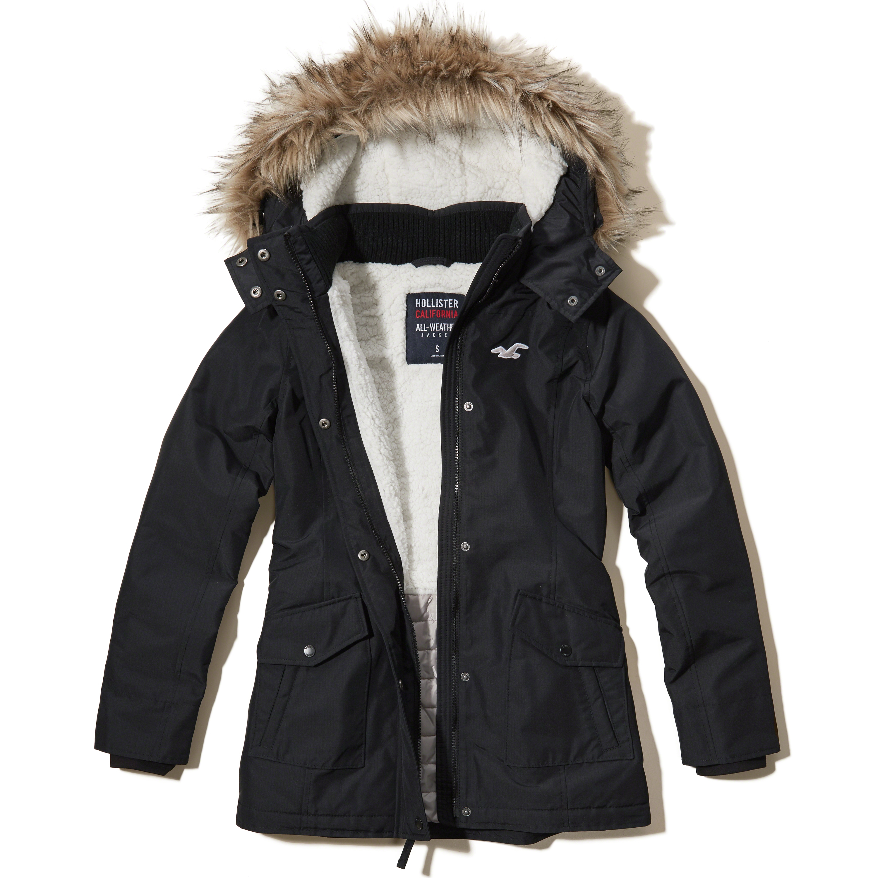Hollister All Weather Bomber Jacket In Black Lyst