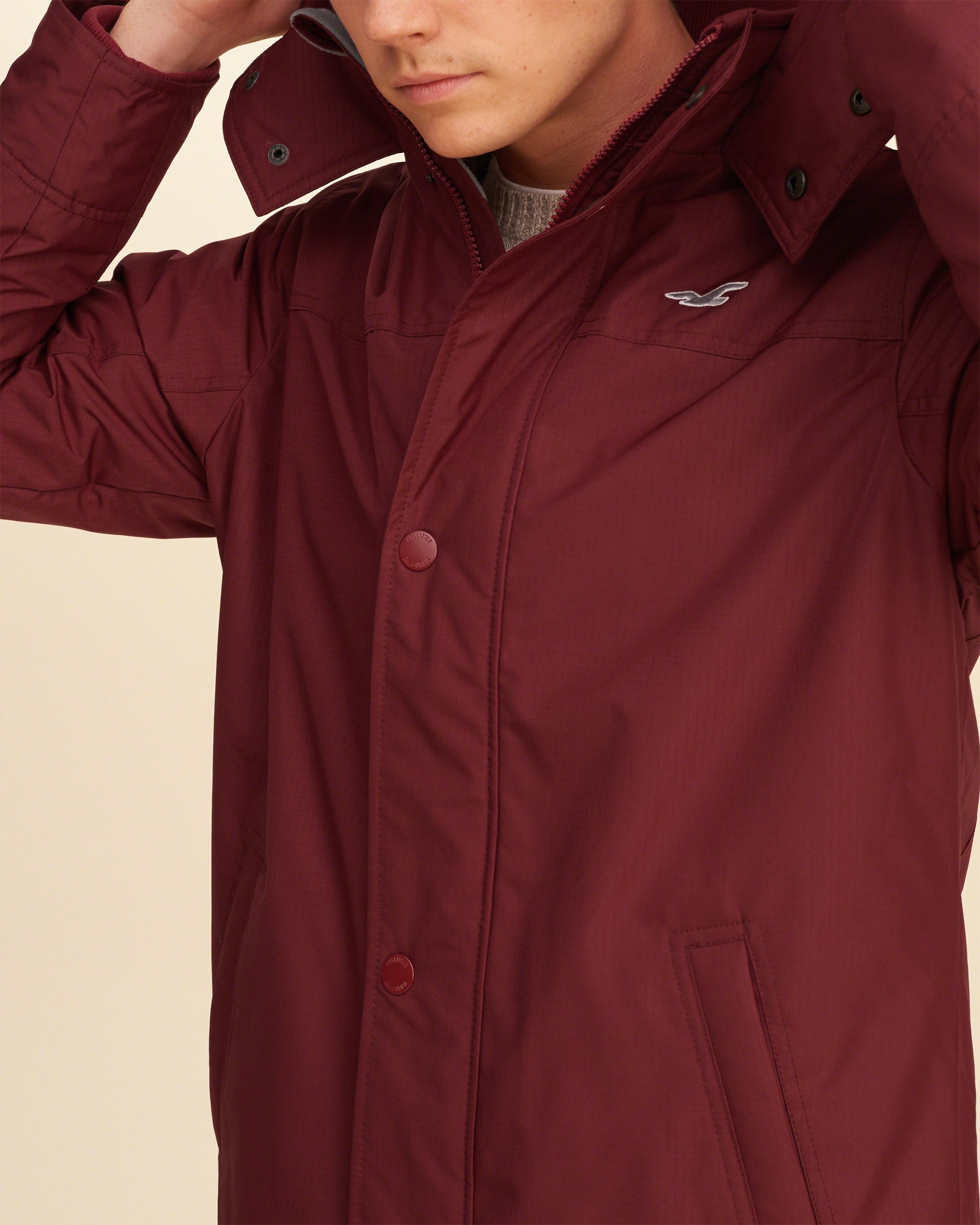 Hollister All-weather Fleece Lined Jacket in Red for Men