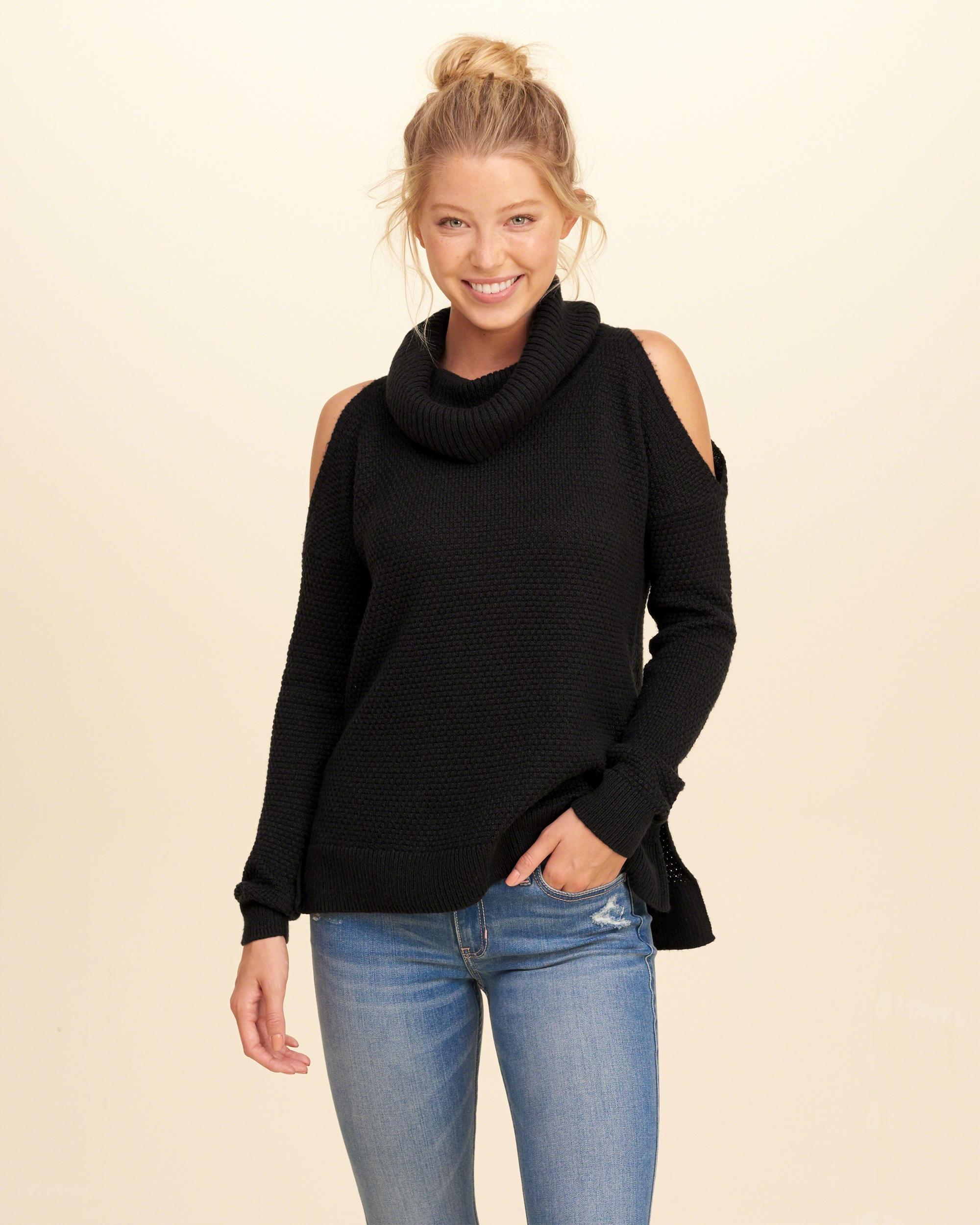 Hollister Cowl Neck Cold Shoulder Sweater in Black | Lyst