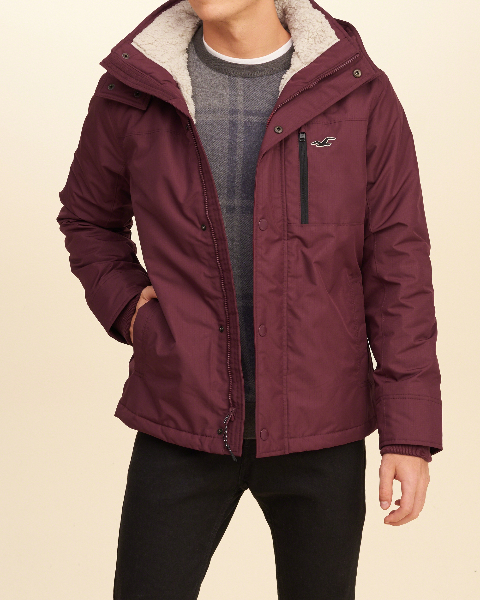 Hollister Synthetic All-weather Sherpa Lined Jacket for Men