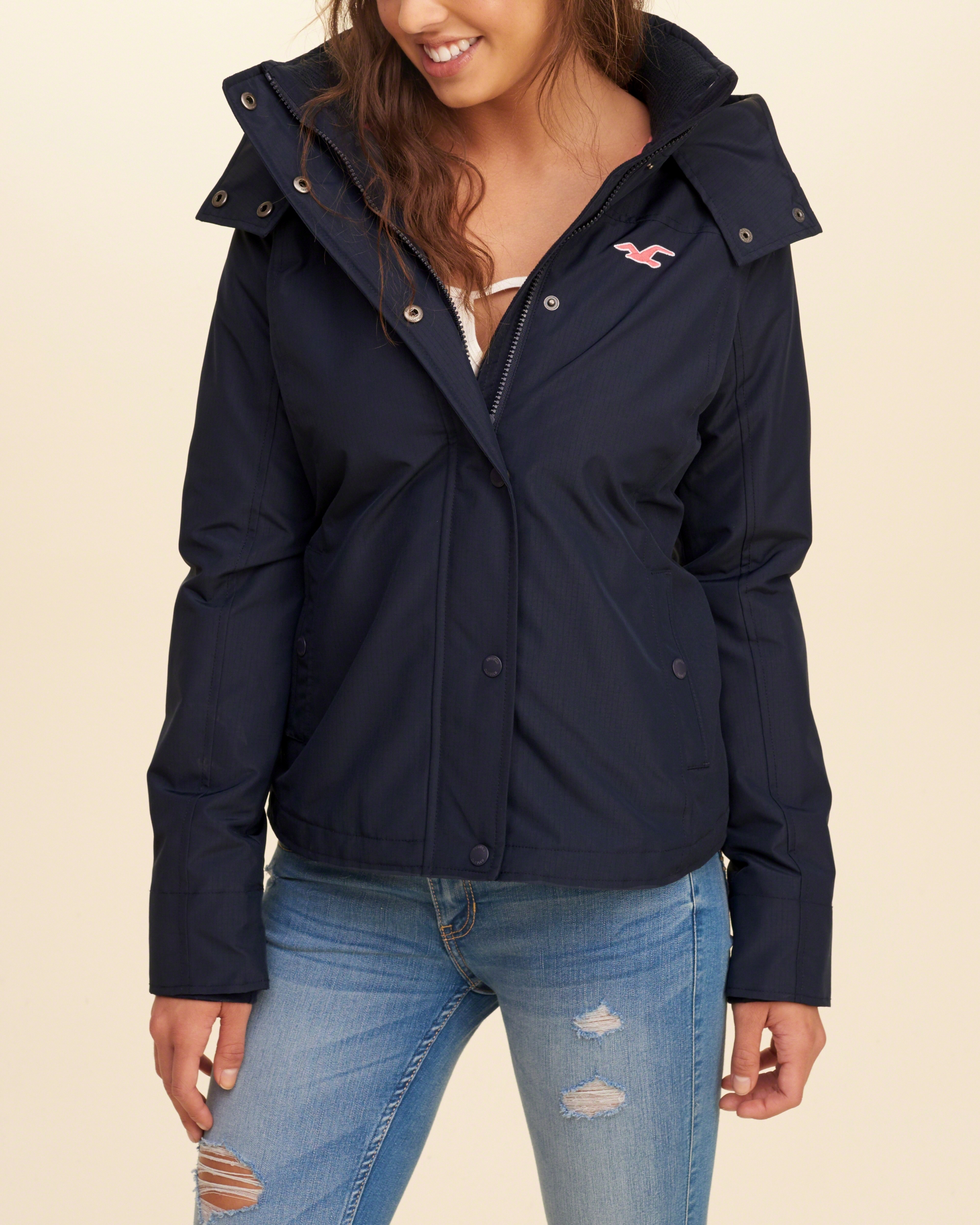 Hollister All Weather Fleece Lined Jacket In Blue Lyst
