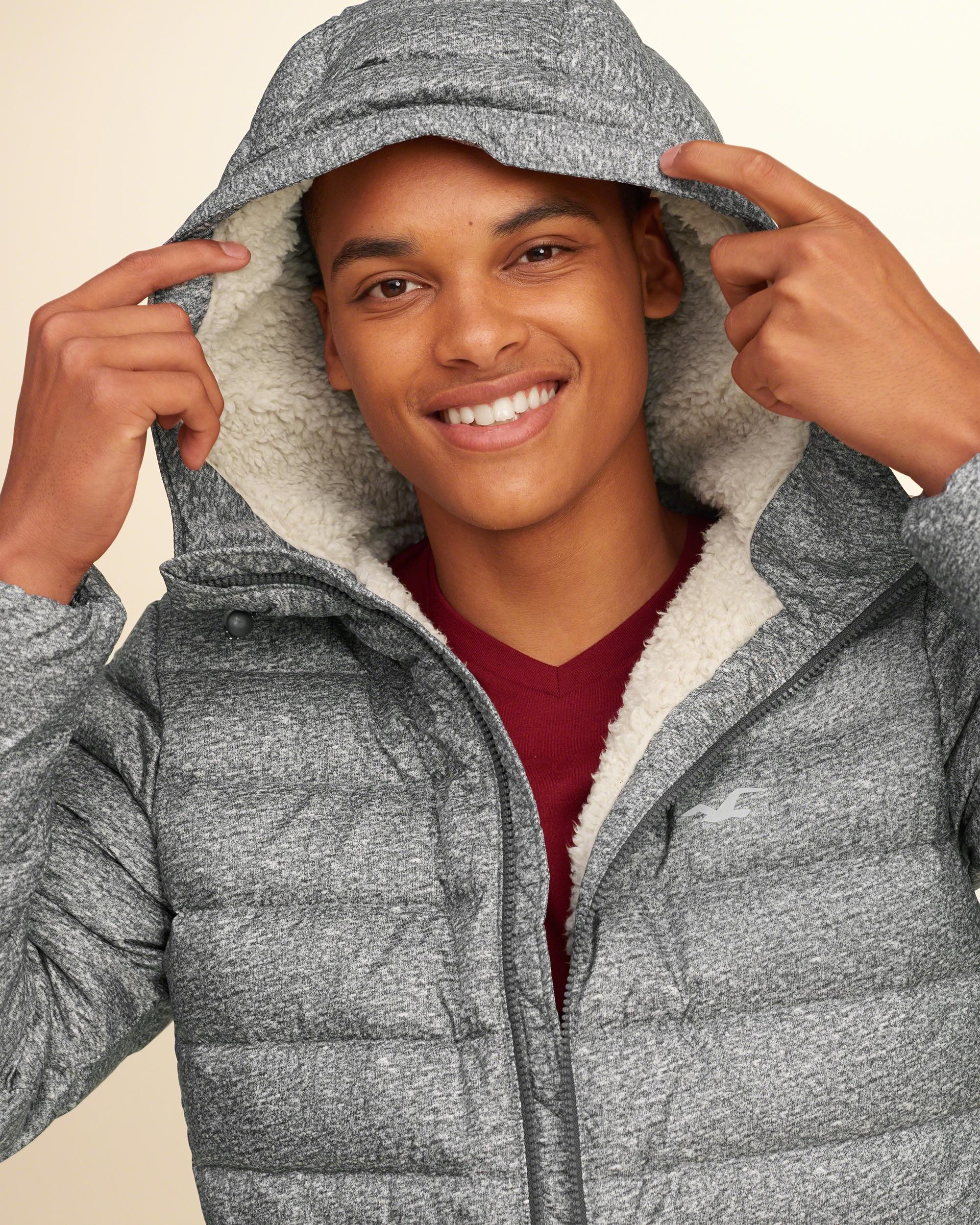 Hollister Synthetic Sherpa Lined Down Puffer Jacket in ...