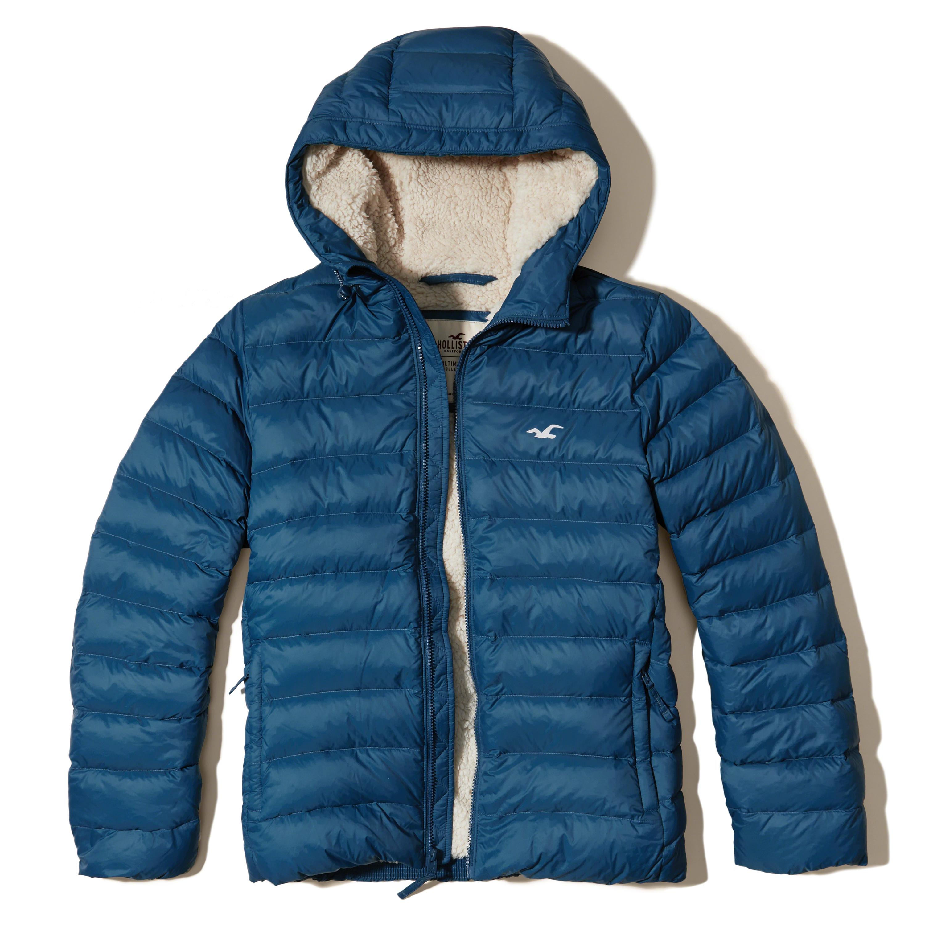 hollister sherpa lined down puffer jacket in blue for men
