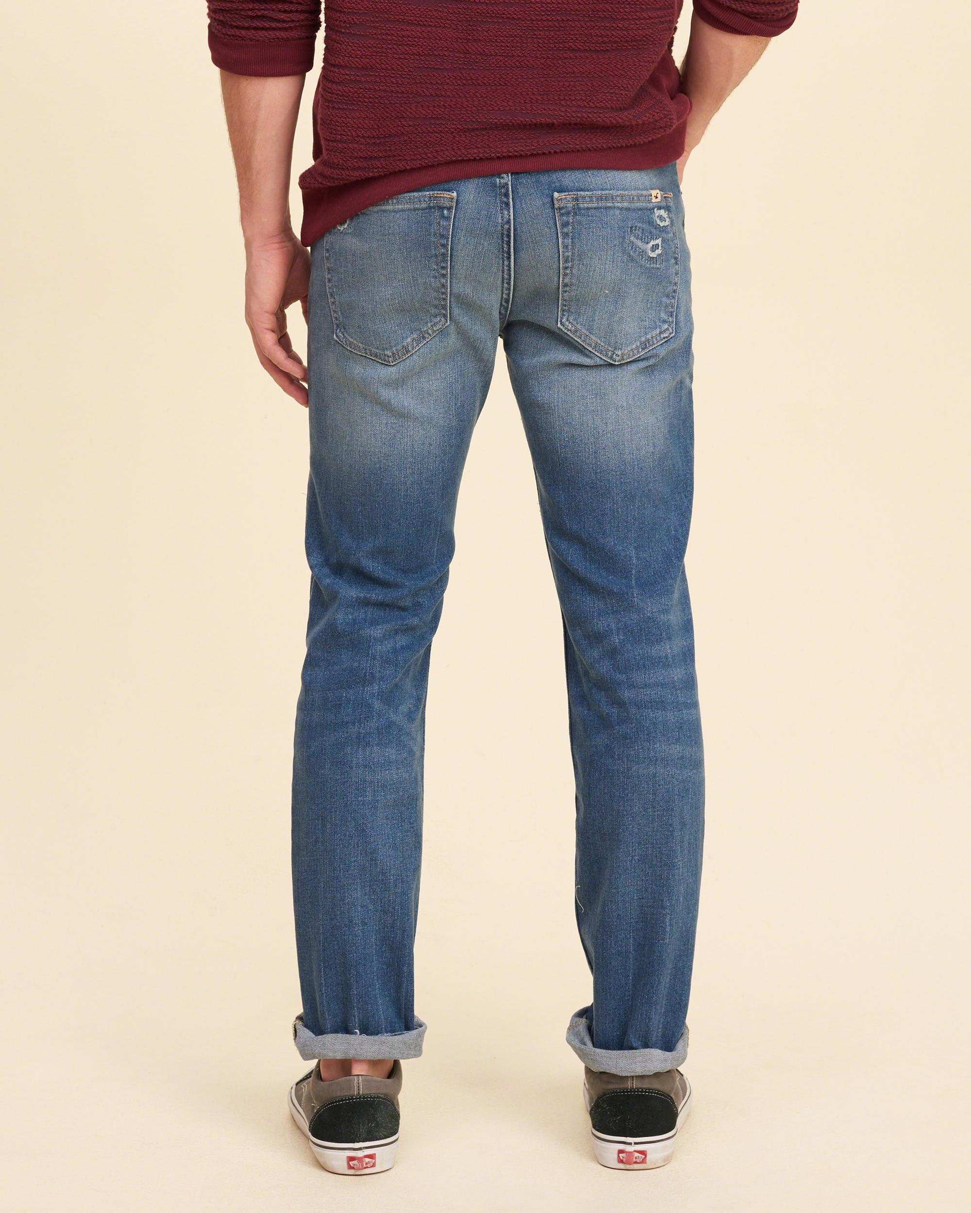 Hollister Ripped And Repaired Skinny Jeans in Blue for Men ...