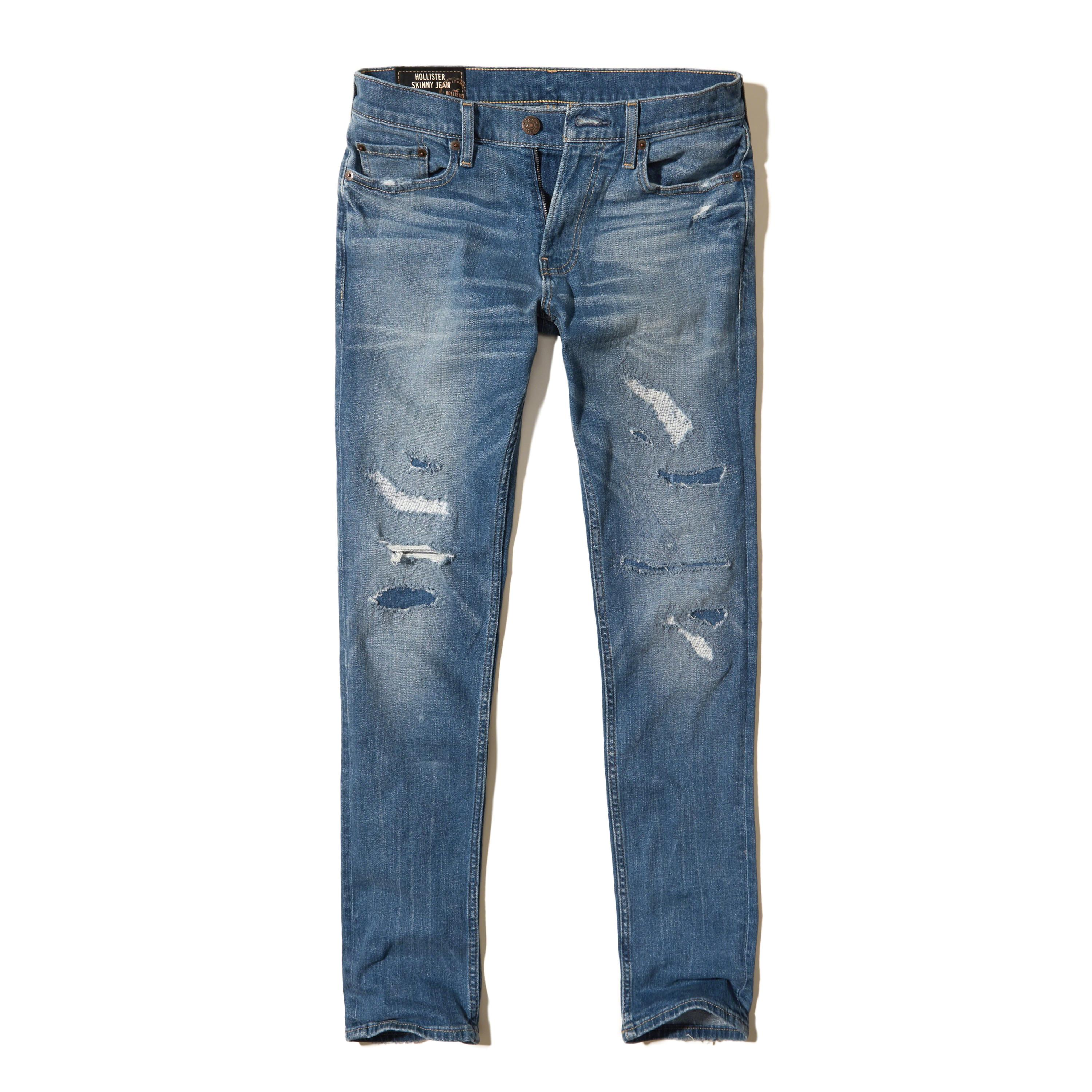 Lyst - Hollister Ripped And Repaired Skinny Jeans in Blue ...