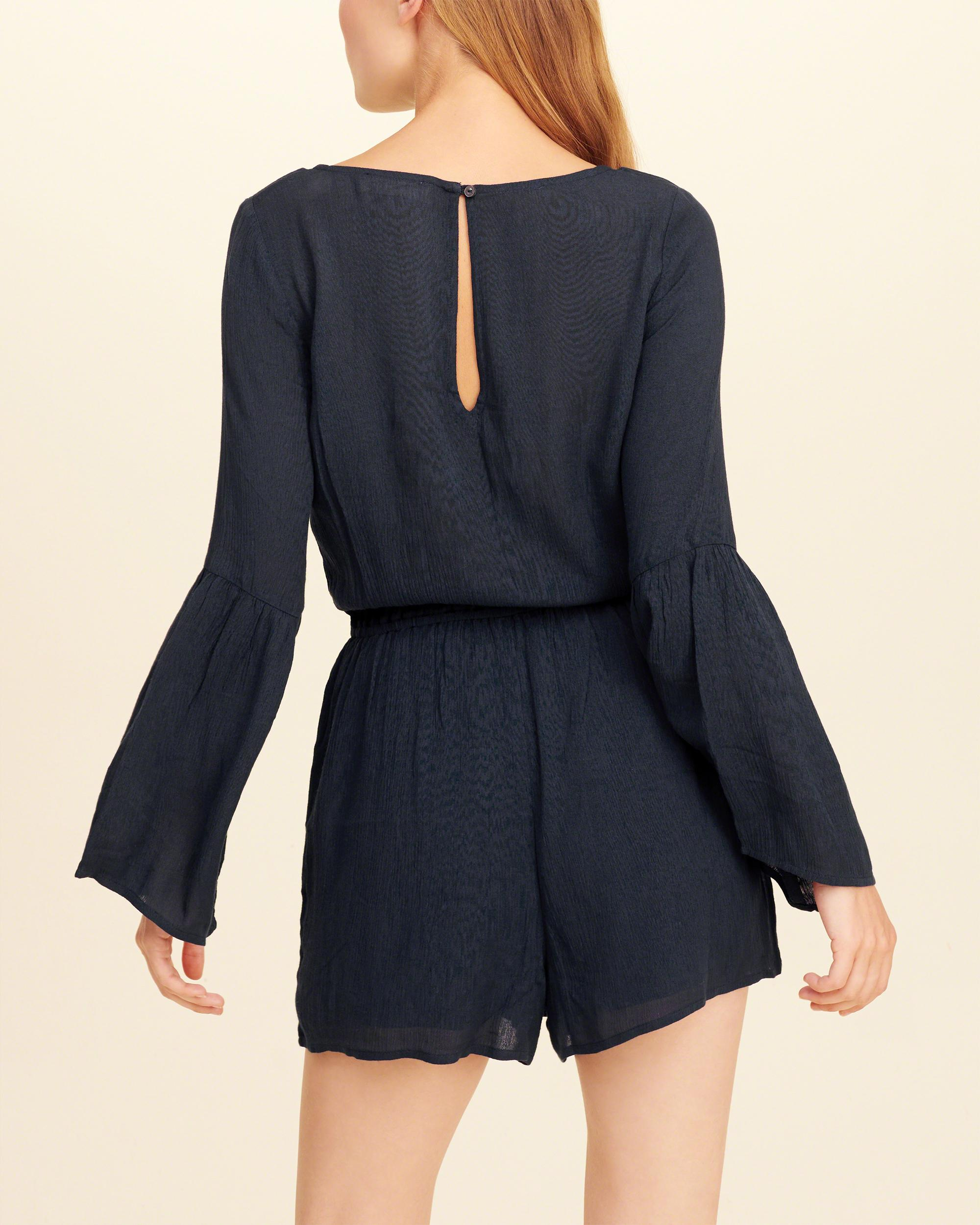 Hollister Synthetic Strappy Bell-sleeve Romper in Navy (Blue)