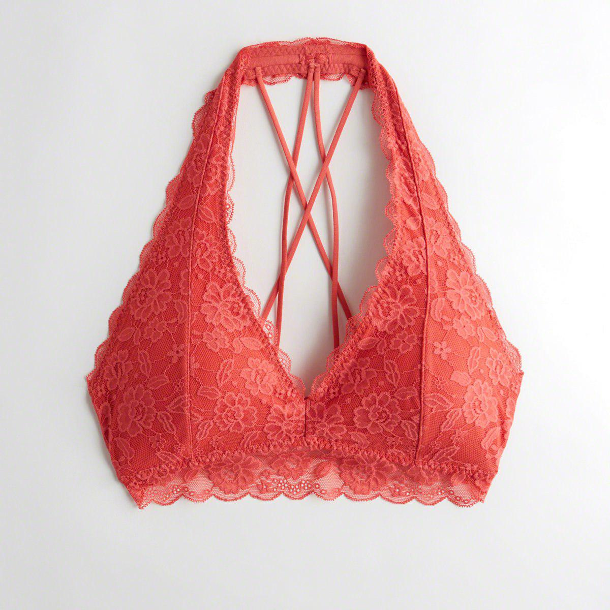 18291f4a3d126 Hollister. Women s Red Girls Strappy Halter Bralette With Removable Pads  From Hollister