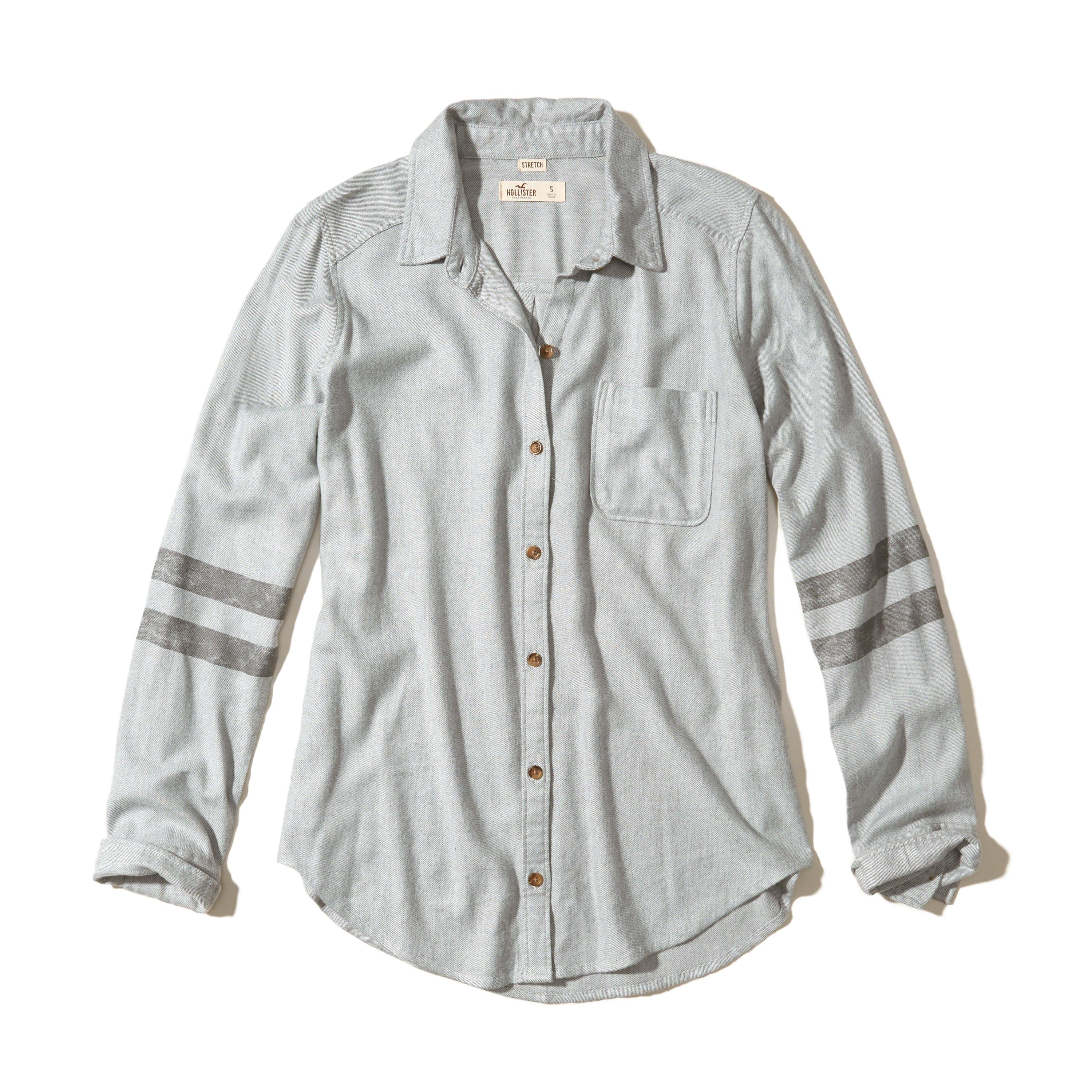 Lyst Hollister Oversized Flannel Shirt In Gray