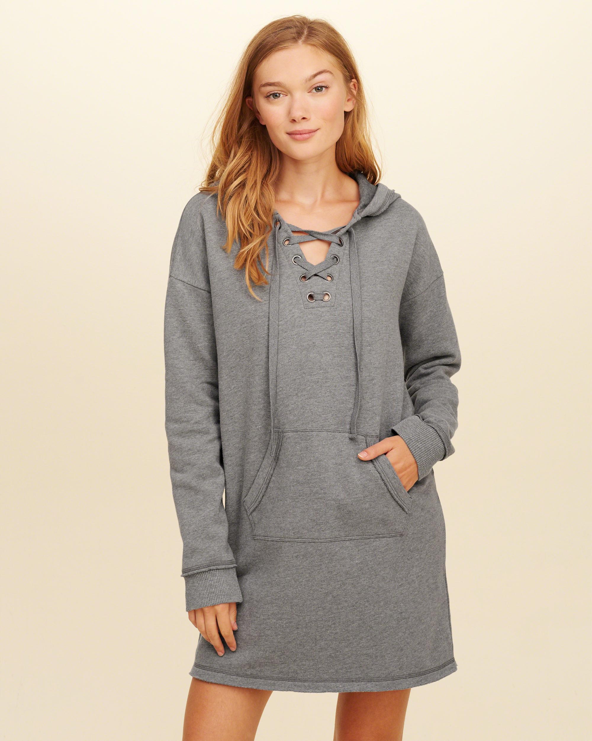 Hooded Sweatshirt Dress with Embroidery - Grey Hollister jpnv4