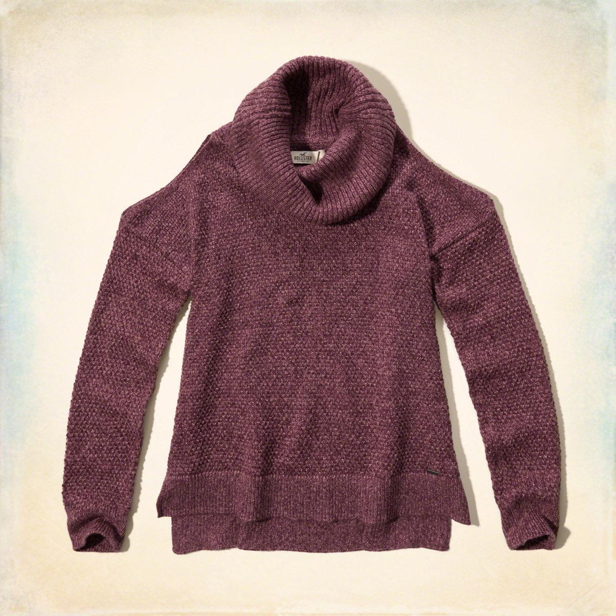 a8d63b5f46f0 Lyst - Hollister Cowl Neck Cold Shoulder Sweater in Purple