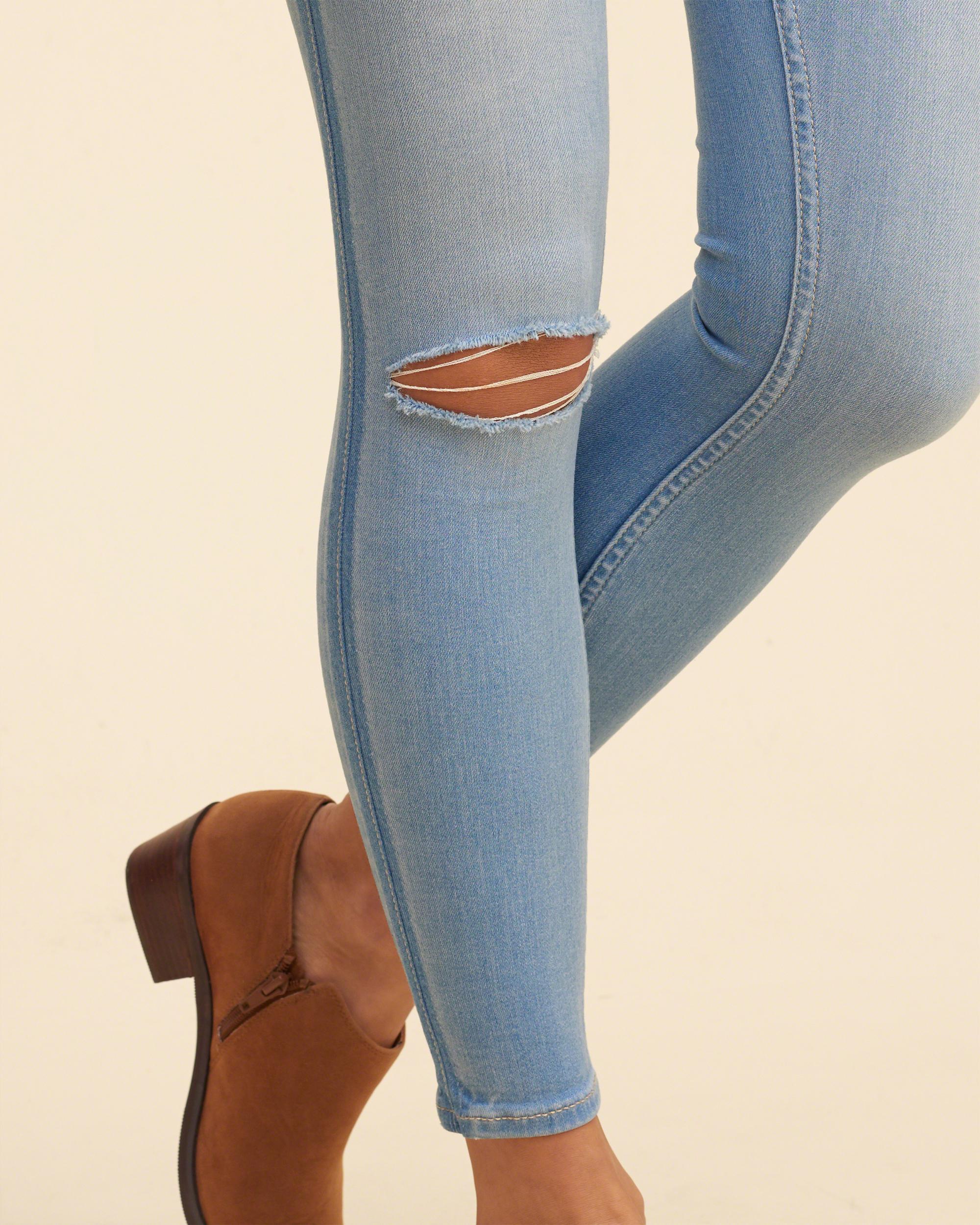 Hollister Denim Low-rise Crop Jean Leggings in Blue