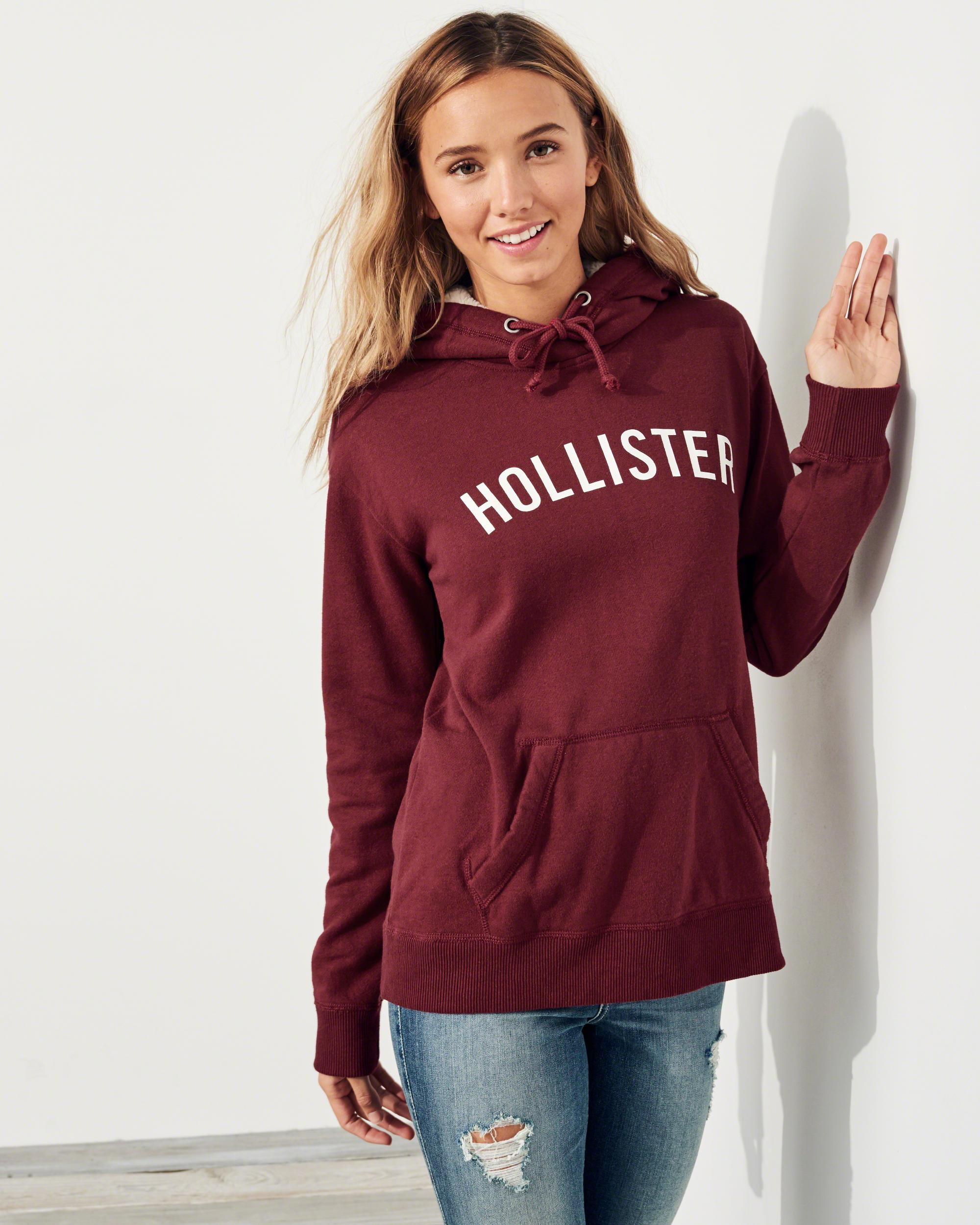 Lyst - Hollister Sherpa-lined Logo Hoodie in Red