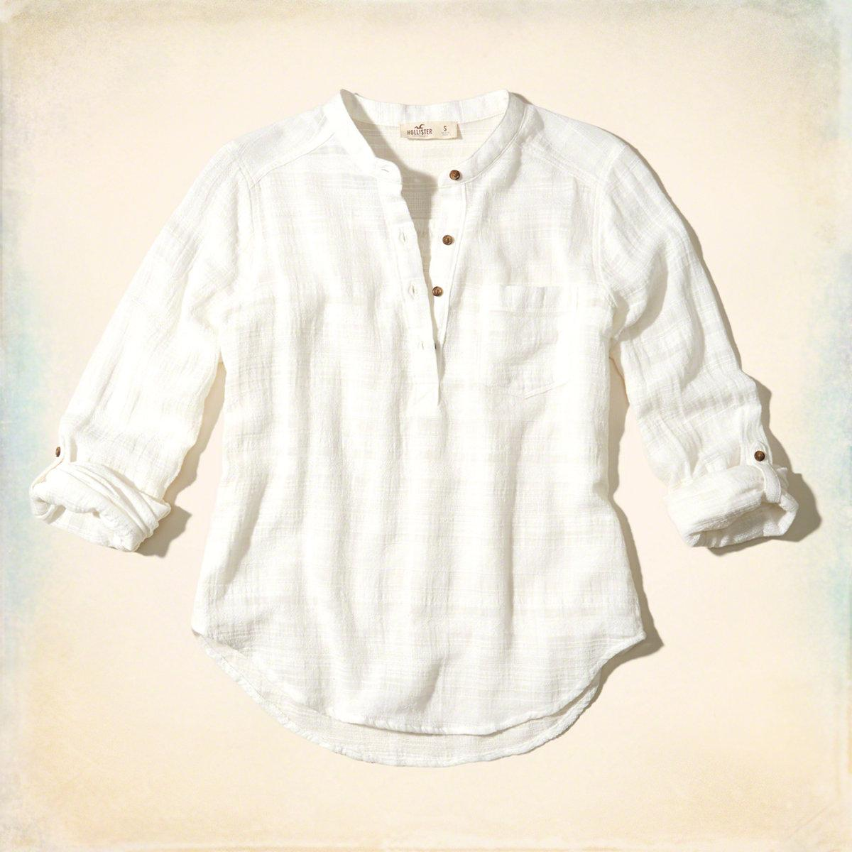 e6000fb7f25 Lyst - Hollister Textured Cotton Popover Shirt in White