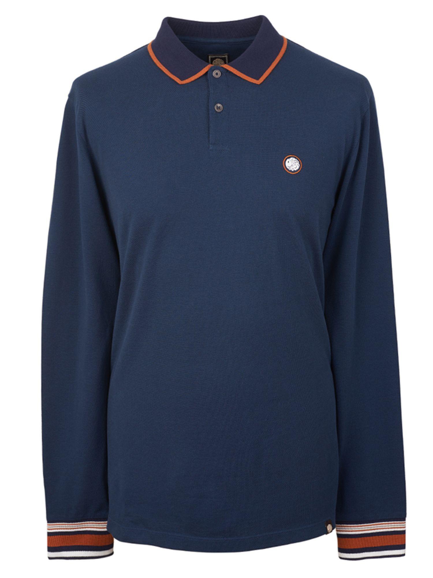 Pretty green men 39 s long sleeve pique tipped polo shirt in for Mens long sleeve pique polo shirts