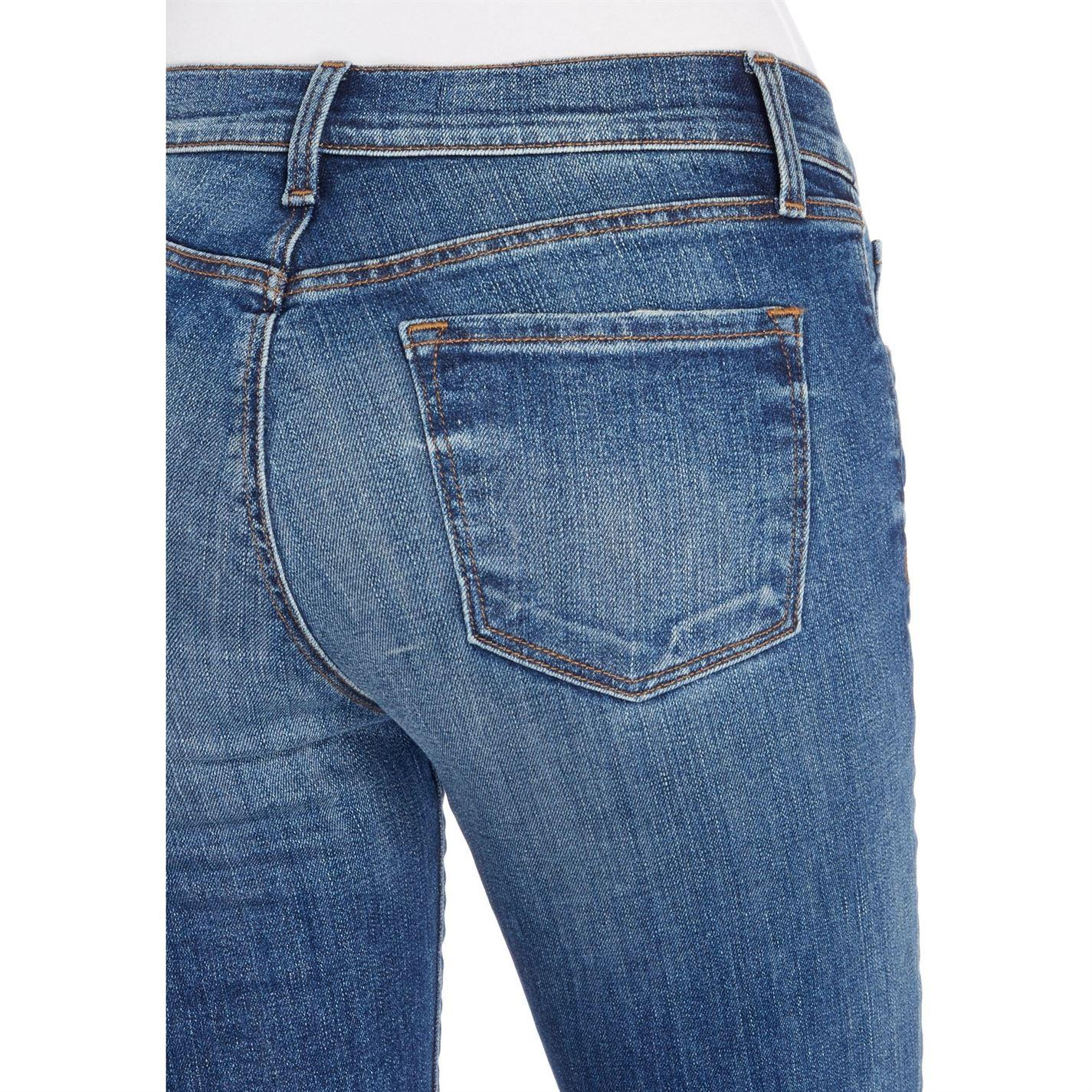 J Brand Denim Selena Crop Boot Raw Hem Jeans In Revoke Destruct in Denim Mid Wash (Blue)