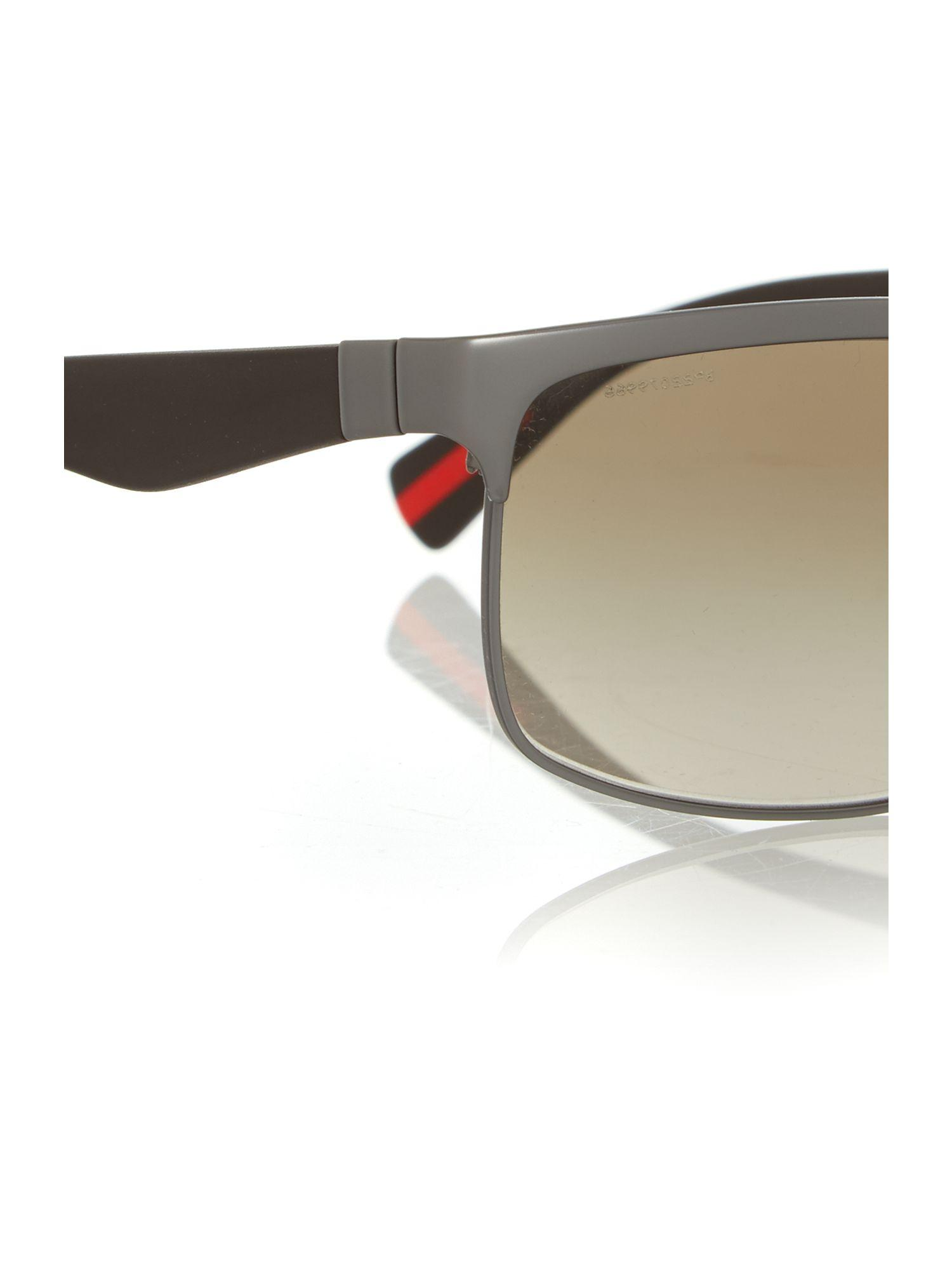 Prada Rubber Rectangle Sunglasses in Black for Men
