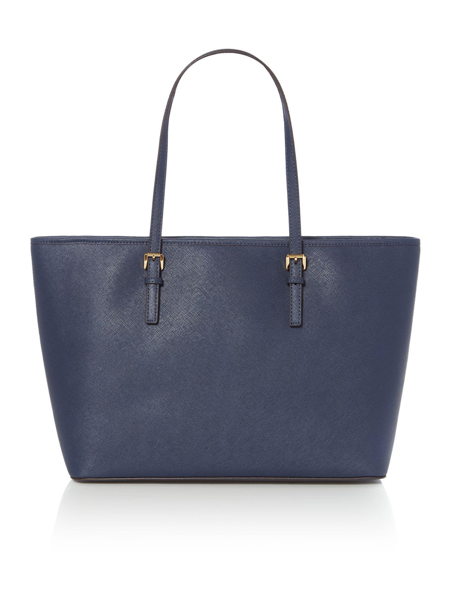 Michael Kors Leather Jet Set Travel Medium Tote Bag in Blue