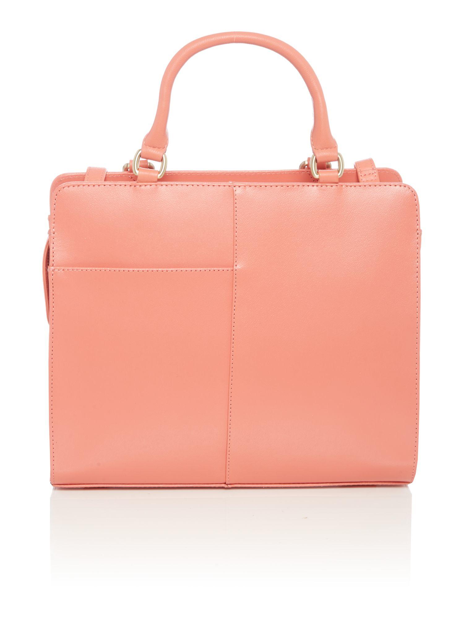 Radley Leather Clerkenwell Stripe Orange Medium Zip Tote Bag in Pink