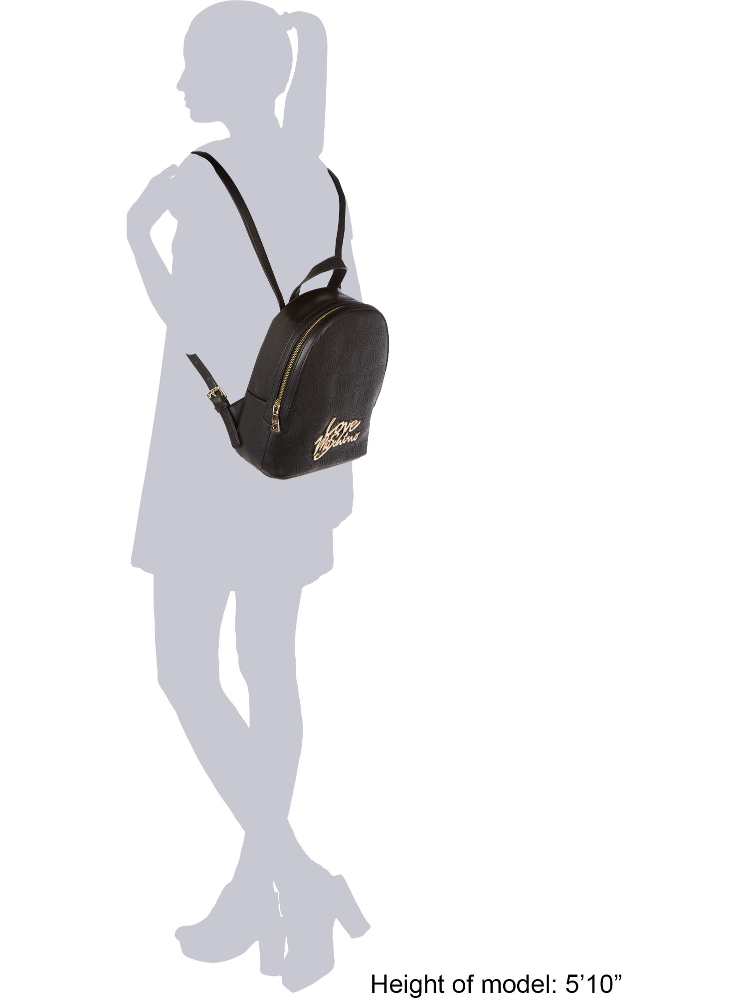 Love Moschino Leather Love Stitching Black Backpack