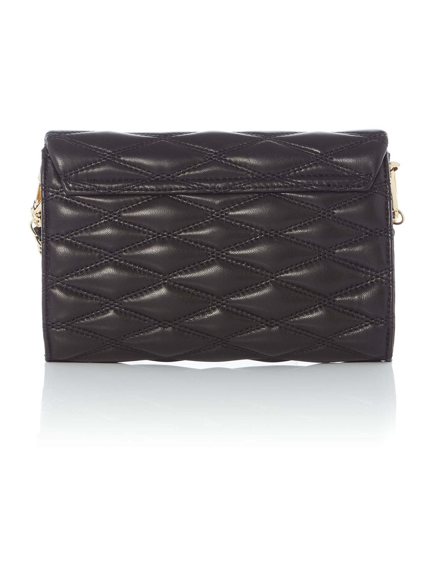 DKNY Leather Quilted Black Small Flapover Chain Crossbody
