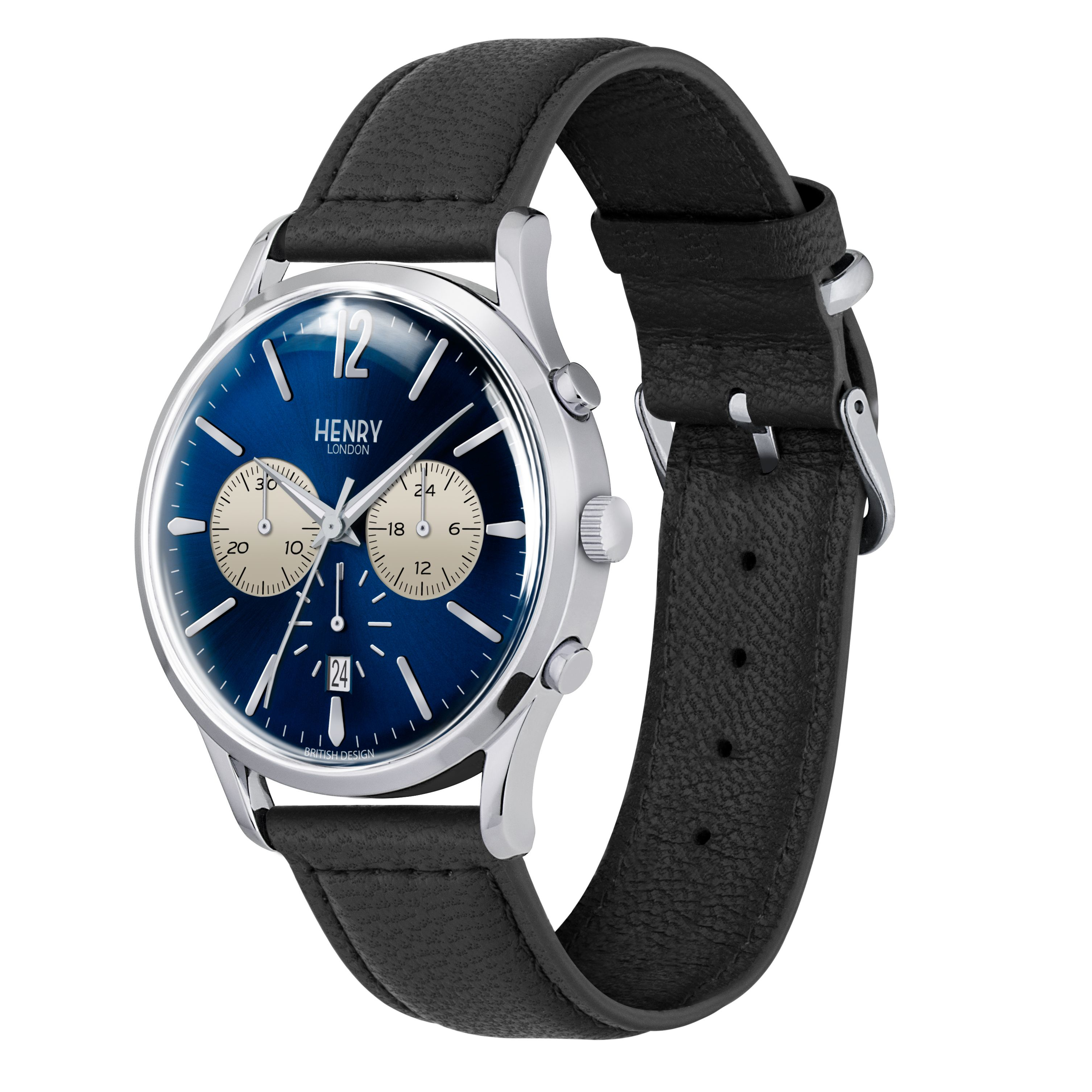 lyst henry london knightsbridge leather strap watch in blue for men. Black Bedroom Furniture Sets. Home Design Ideas