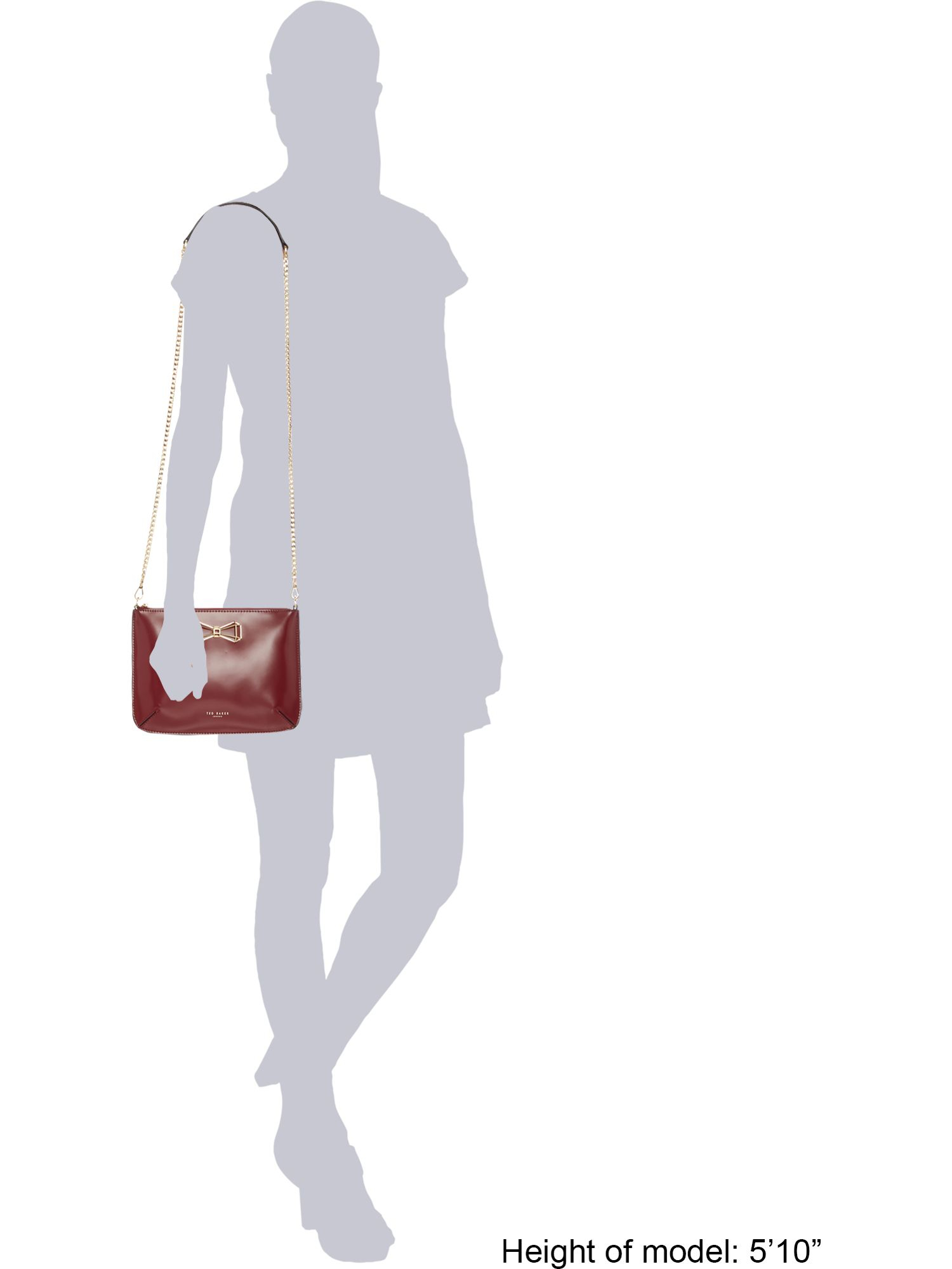 Ted Baker Leather Greta Geo Bow Crossbody in Red