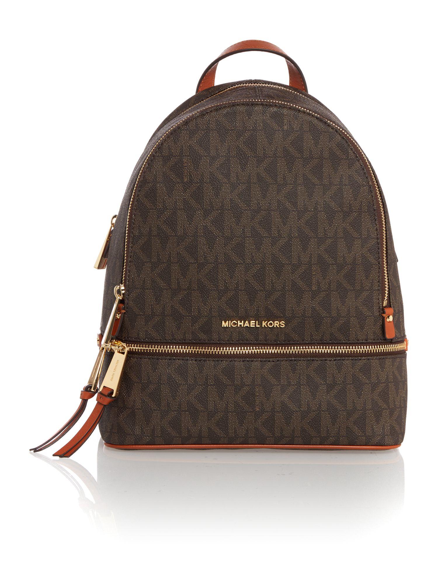 Michael kors Rhea Zip Brown Medium Backpack in Brown | Lyst