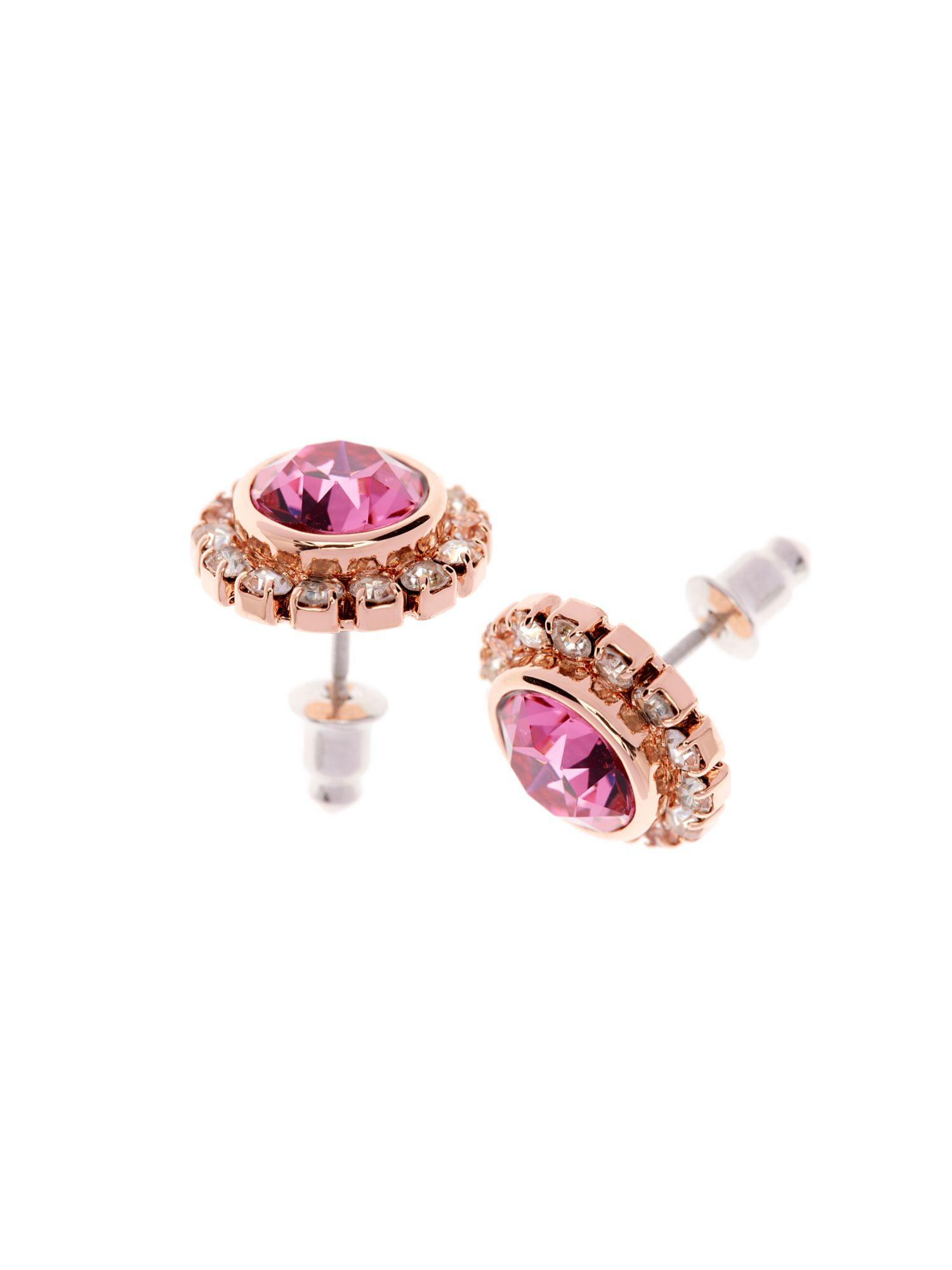Ted Baker Sully Pink Crystal Daisy Stud Earring in Metallic