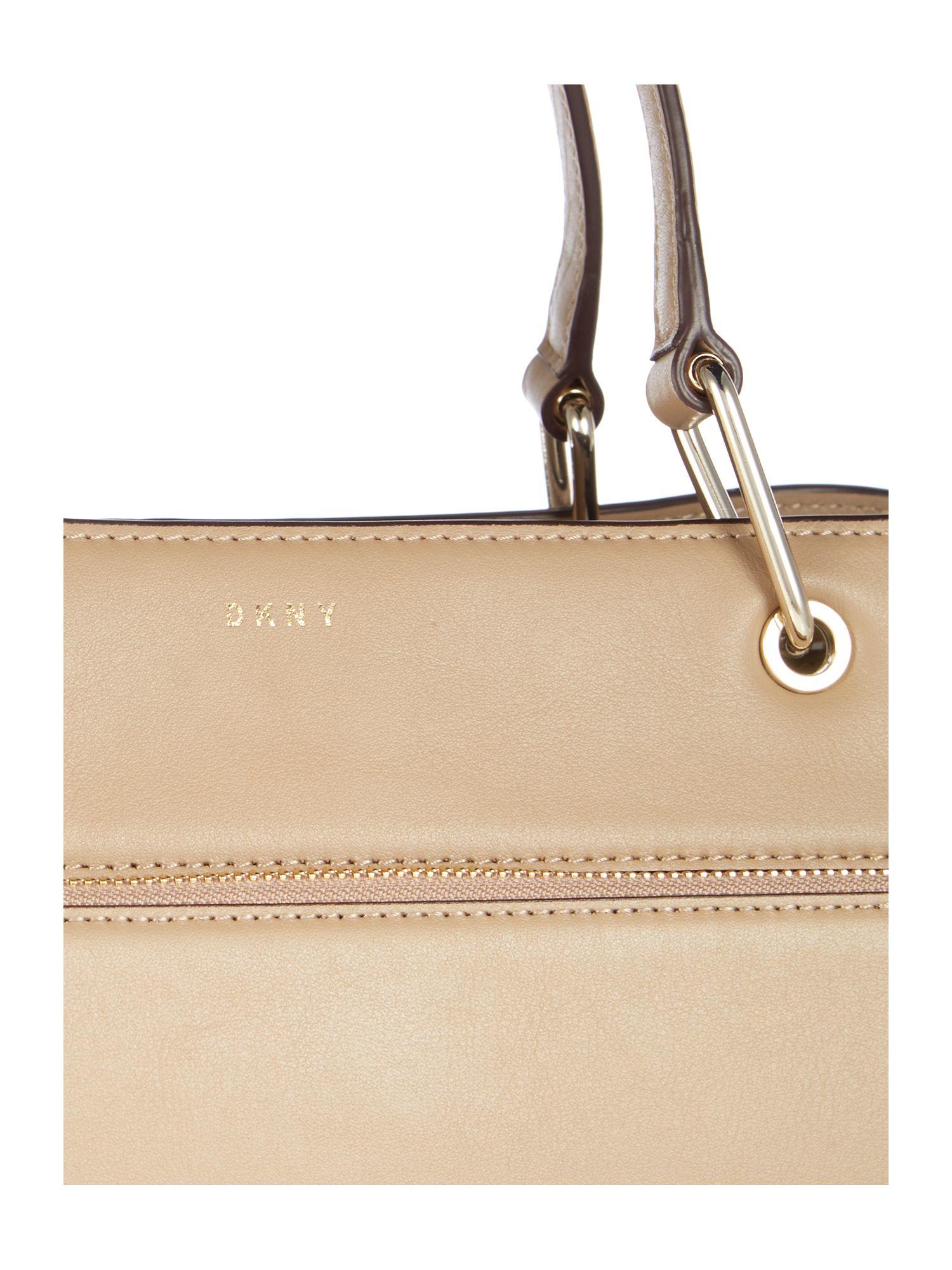 DKNY Leather Greenwich Neutral Medium Pocket Tote Bag