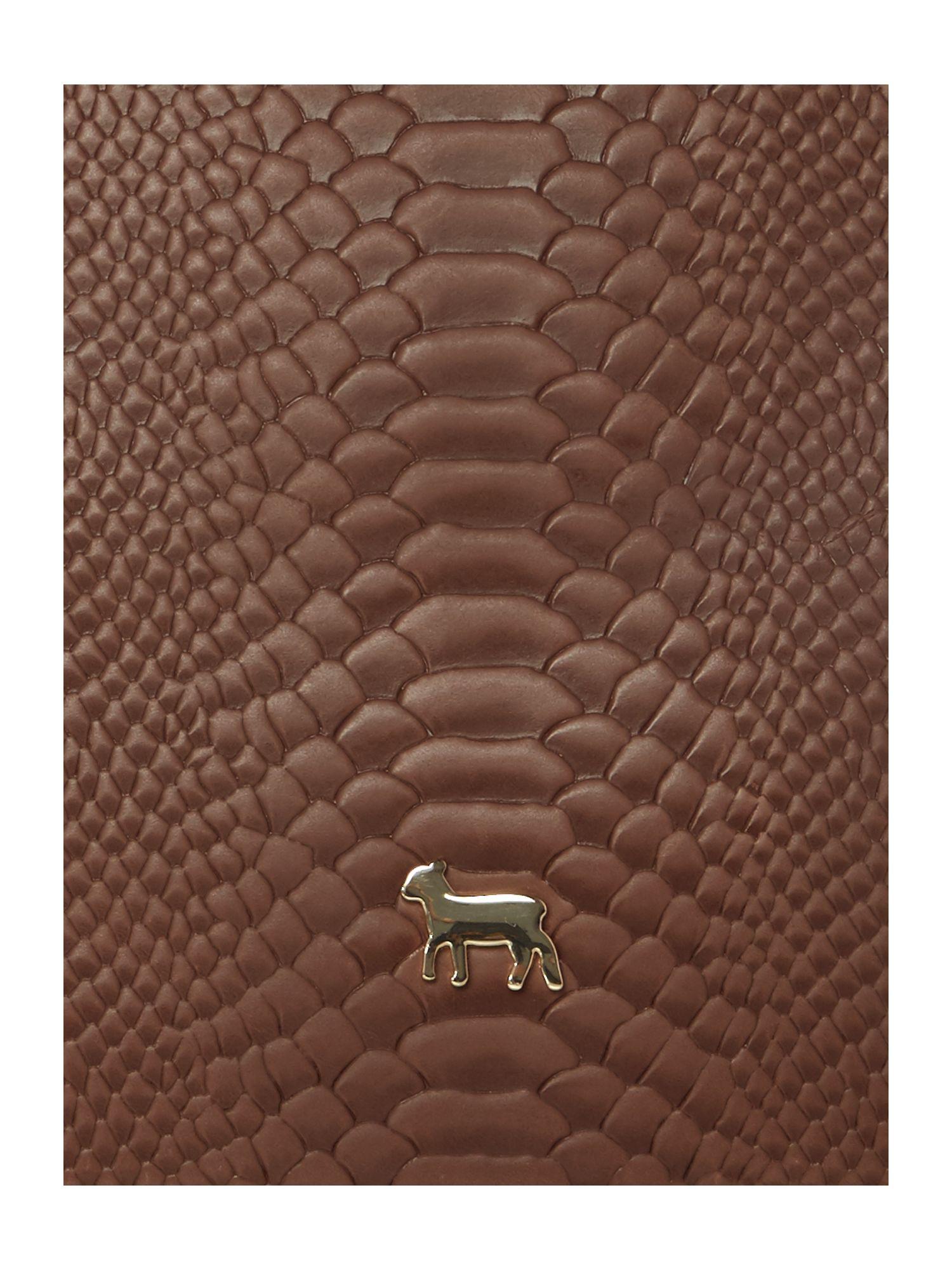Lamb 1887 Leather Joanna Tan Snake Tote Bag in Brown