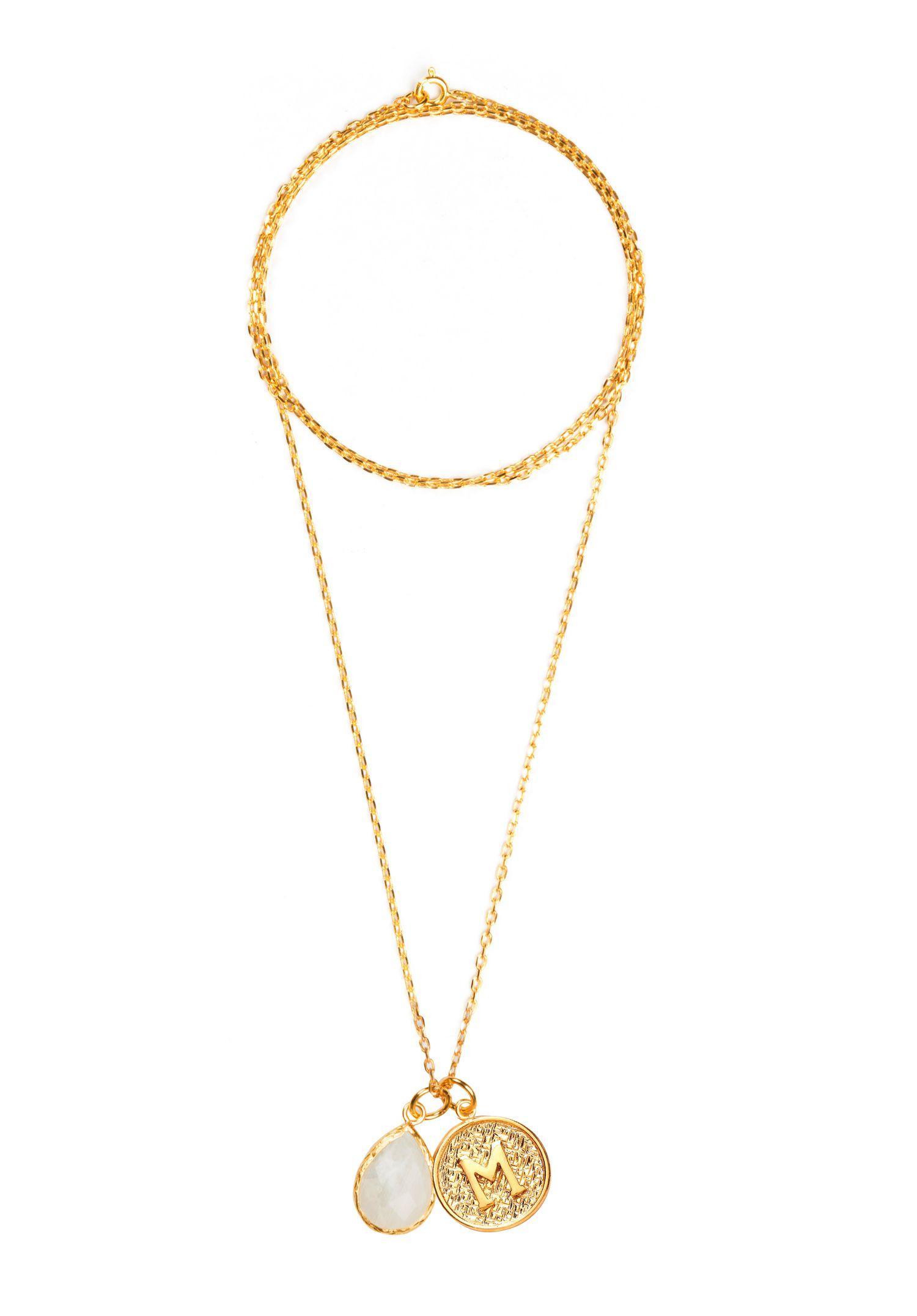 Ottoman Hands Velvet Gold Letter M Pendant Necklace in Metallic